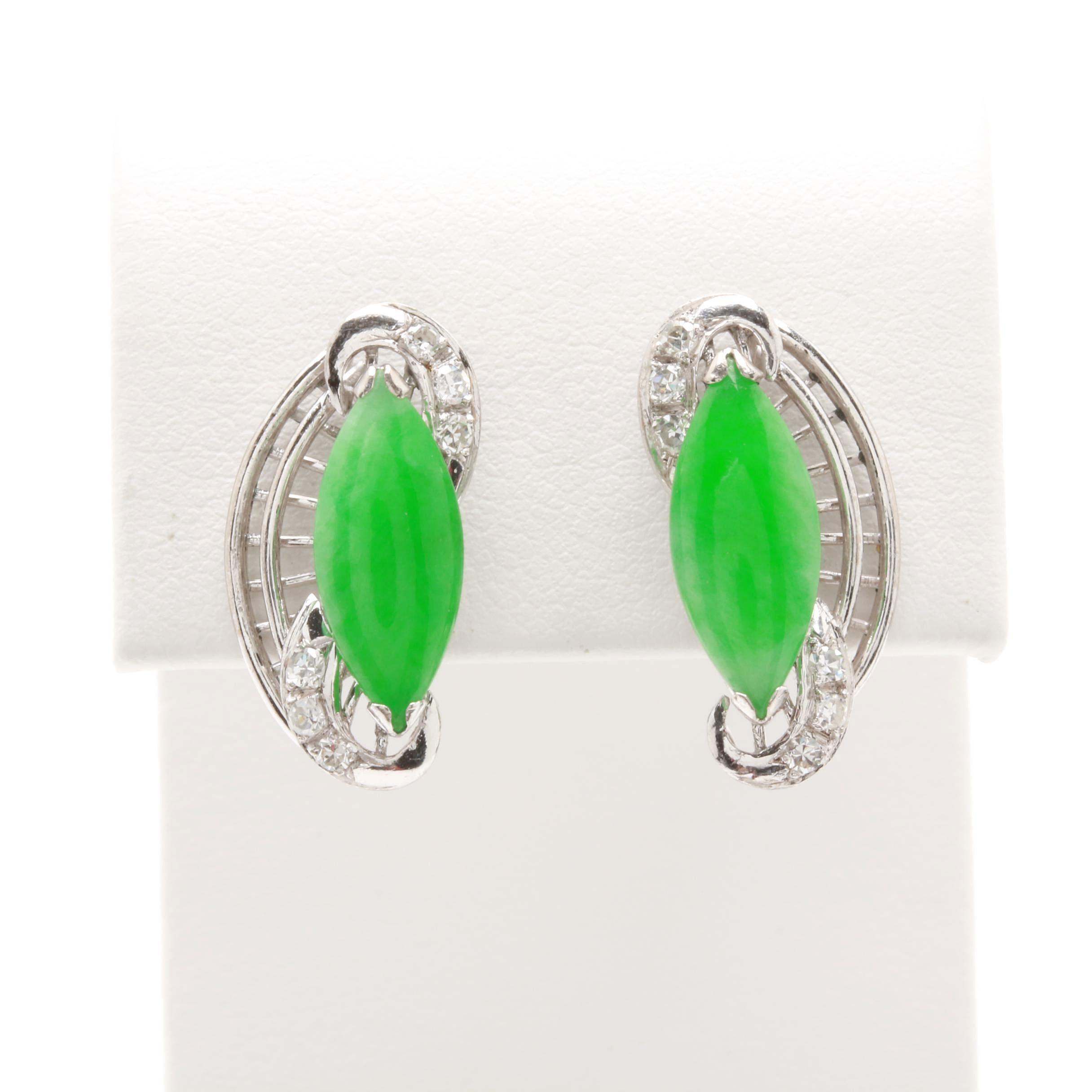 10K White Gold Jadeite and Diamond Earrings