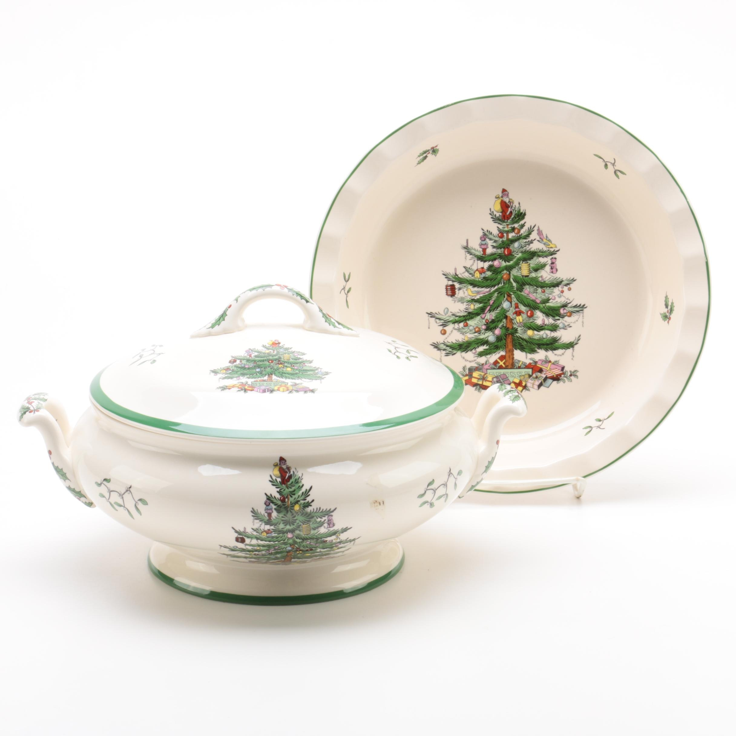 "Spode ""Christmas Tree"" Porcelain Covered Vegetable Dish and Pie Plate"