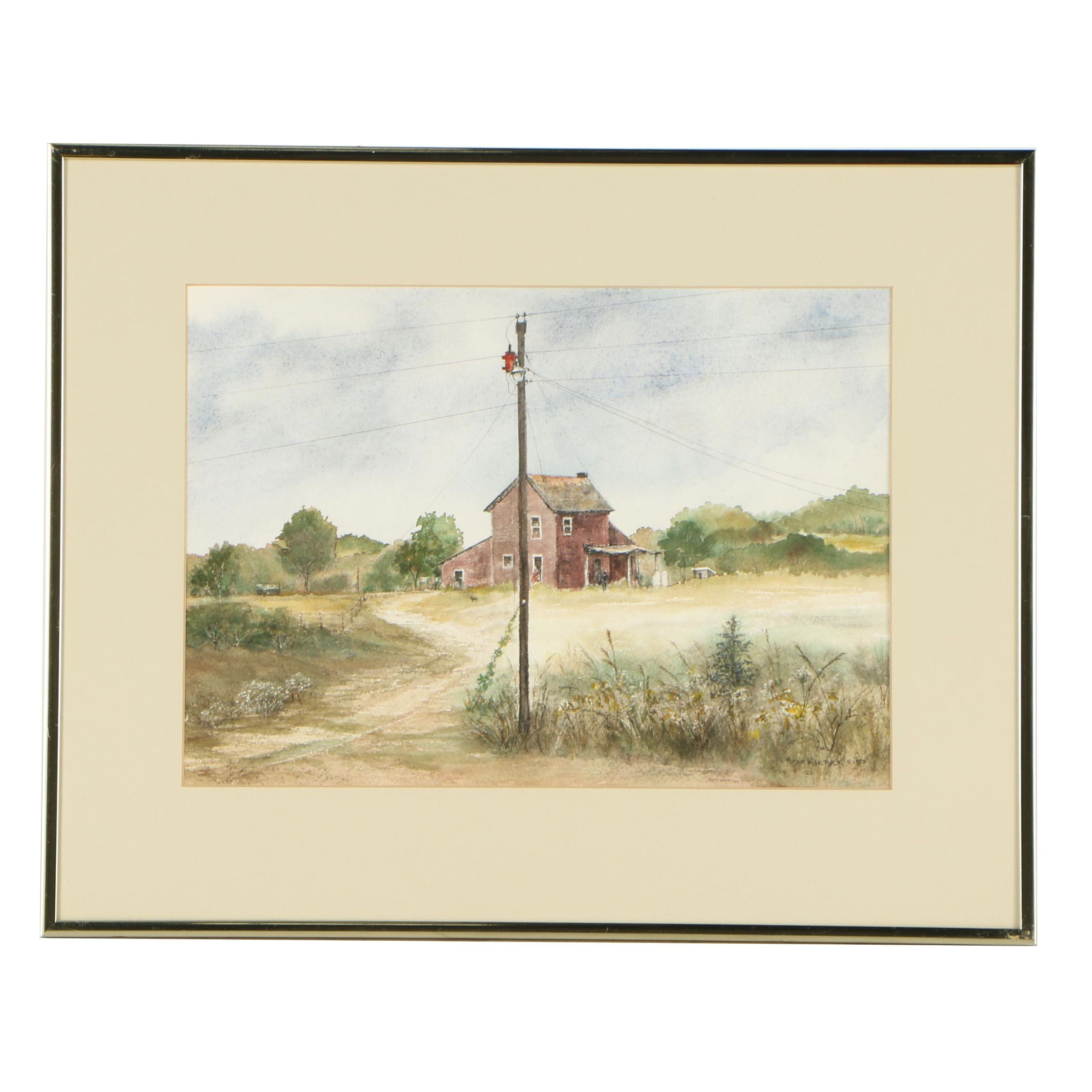 "Miriam Woolfolk Vintage Watercolor Painting ""The Country Connection"""
