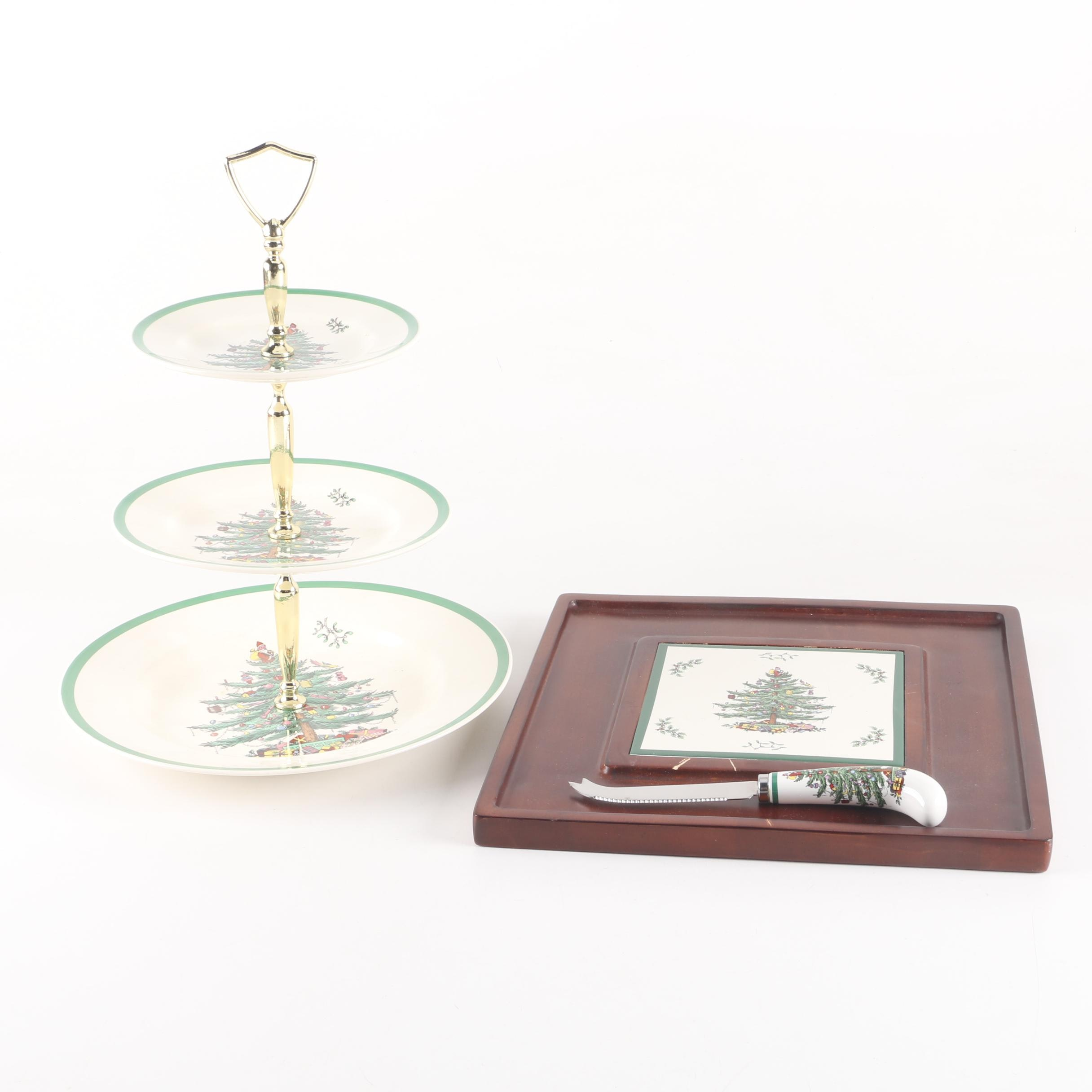 "Spode ""Christmas Tree"" Three-Tiered Serving Tray and Wooden Cheese Board"
