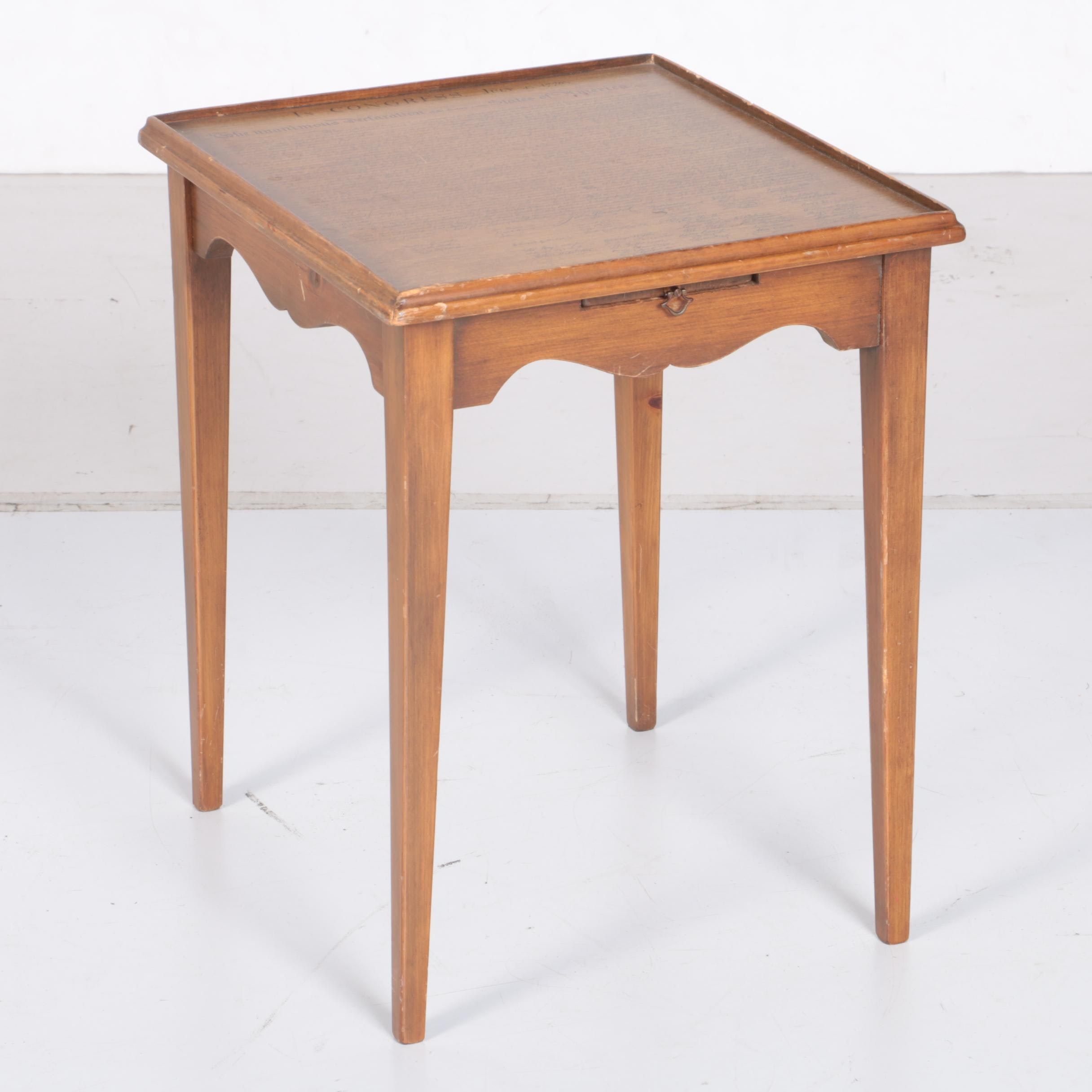 """Vintage Walnut Side Table with """"The Declaration of Independence"""" Motif"""