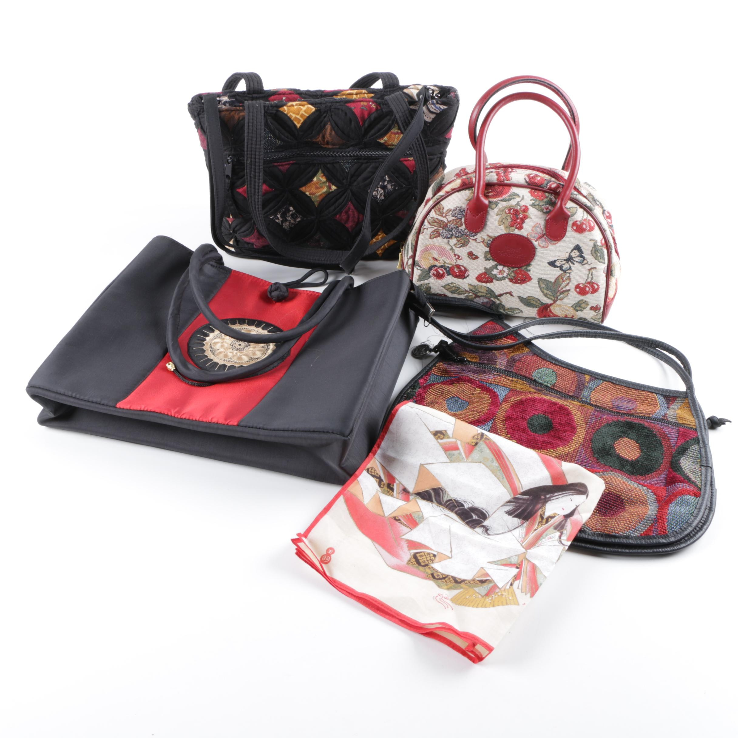 Fabric Handbags and Scarf Including Royal Tapisserie