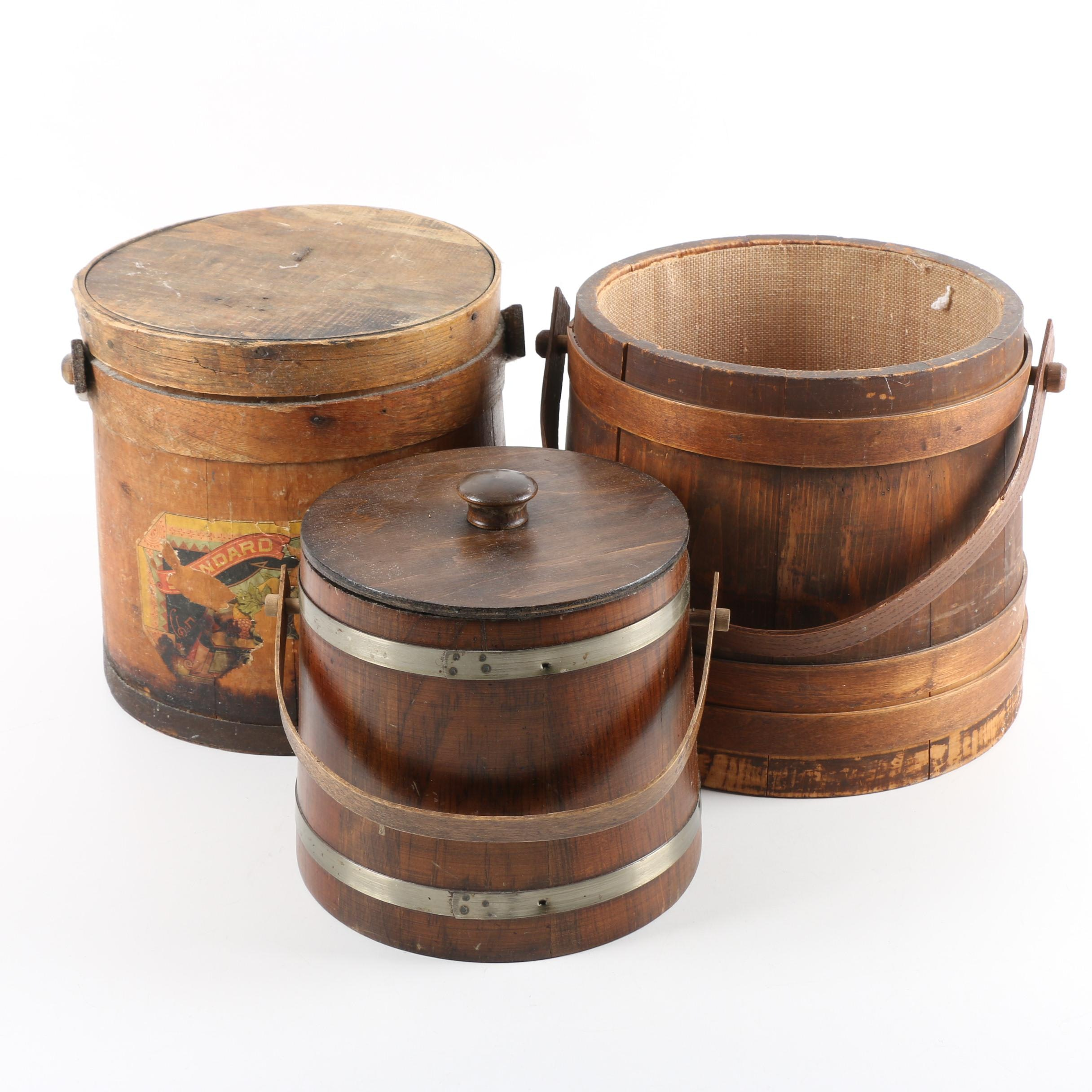 Vintage Wooden Firkin Sugar Buckets