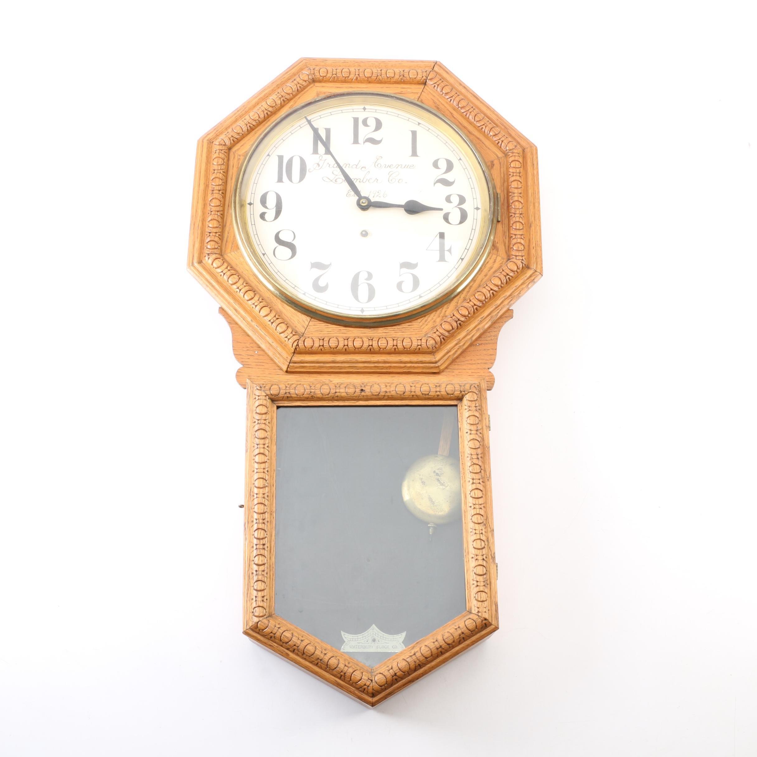 "Waterbury Clock Co. ""Heron"" Wall Clock With Advertisement"