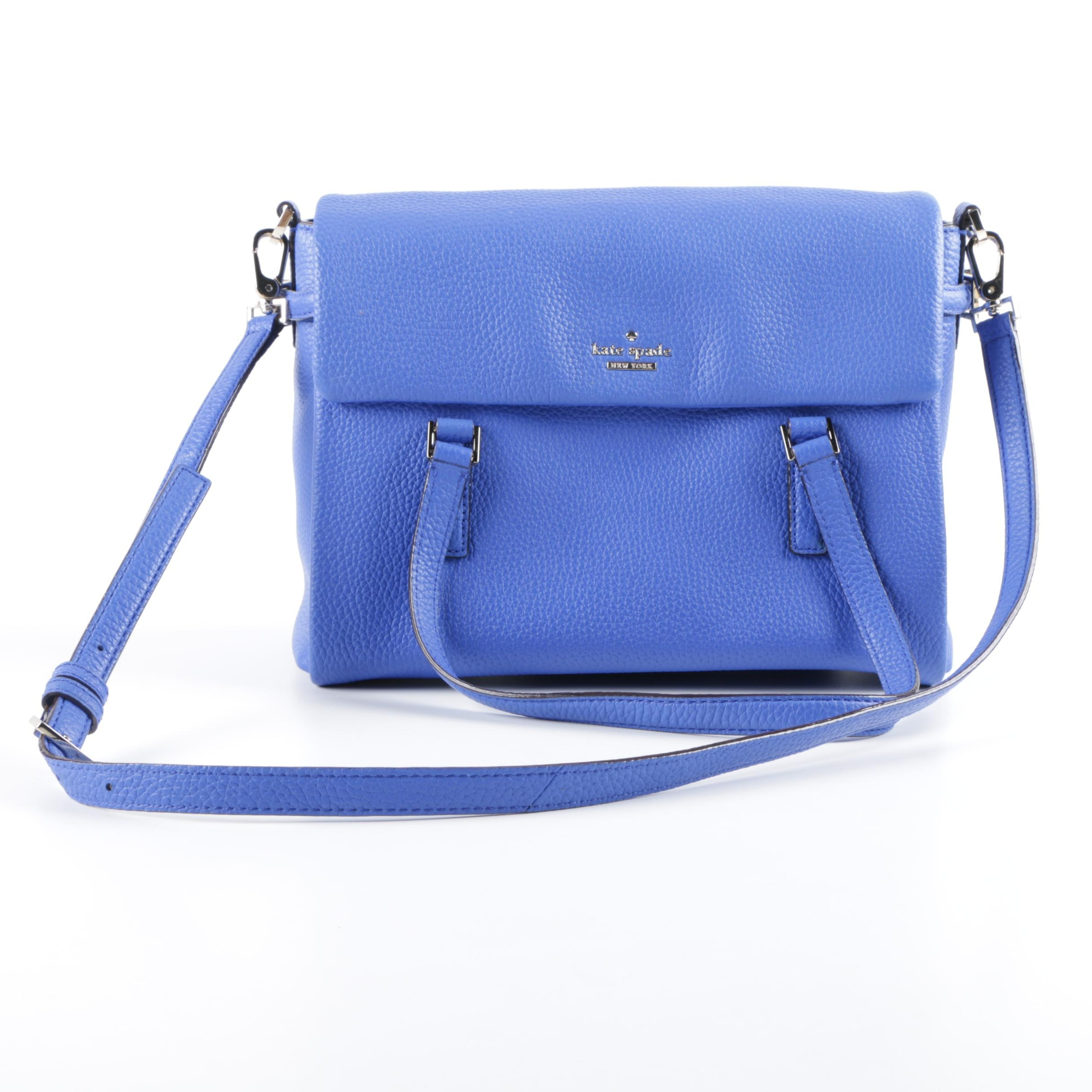 Kate Spade New York Blue Pebbled Leather Front Flap Convertible Satchel
