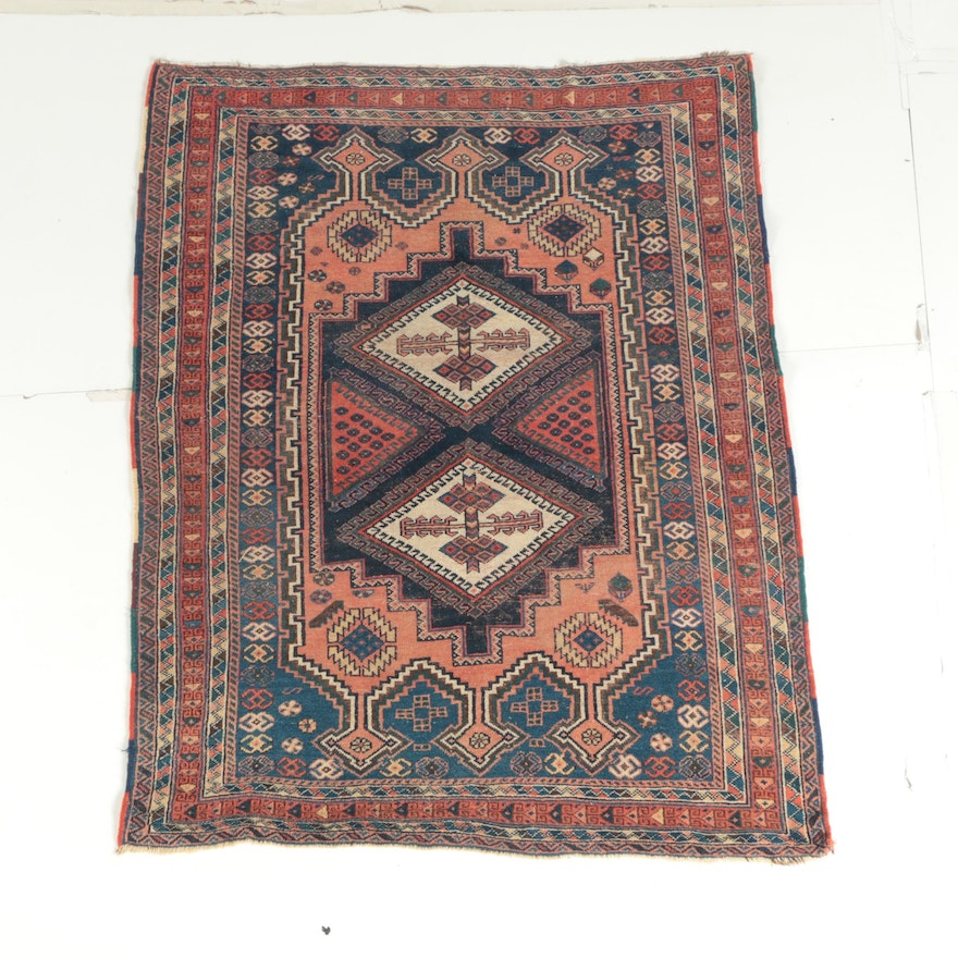 Antique Hand-Knotted Persian Afshar Area Rug