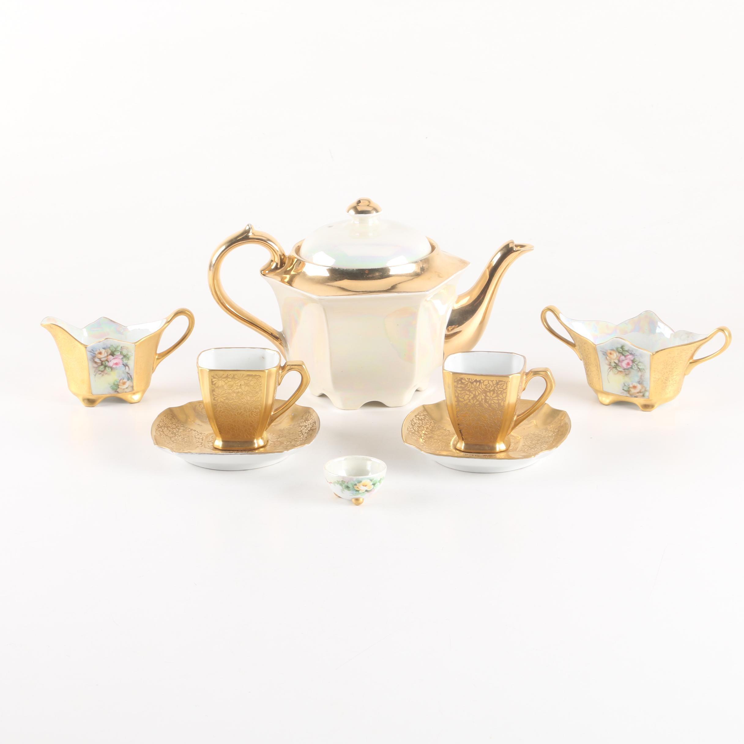 Sadler Earthenware Teapot and Gilt Porcelain Tableware