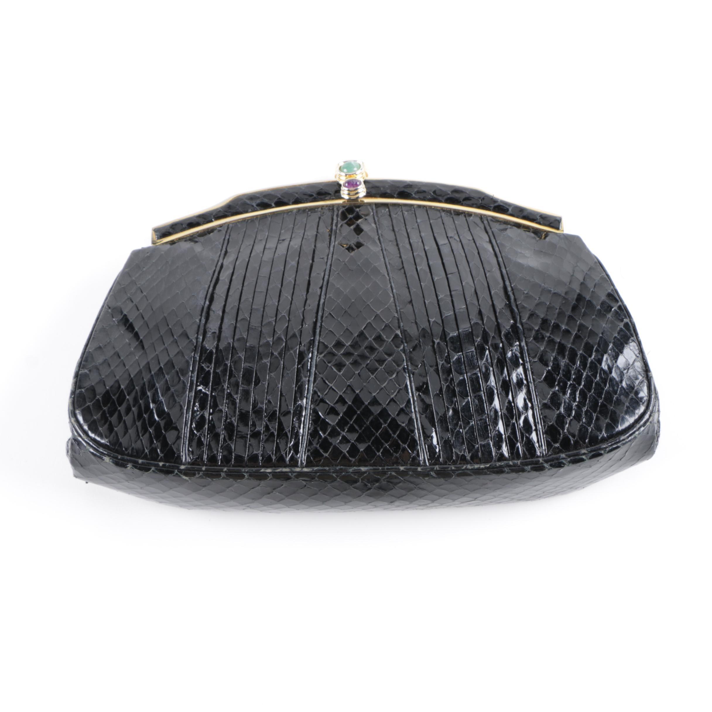 Judith Leiber Black Snakeskin Clutch Bag with Semi-Precious Stones