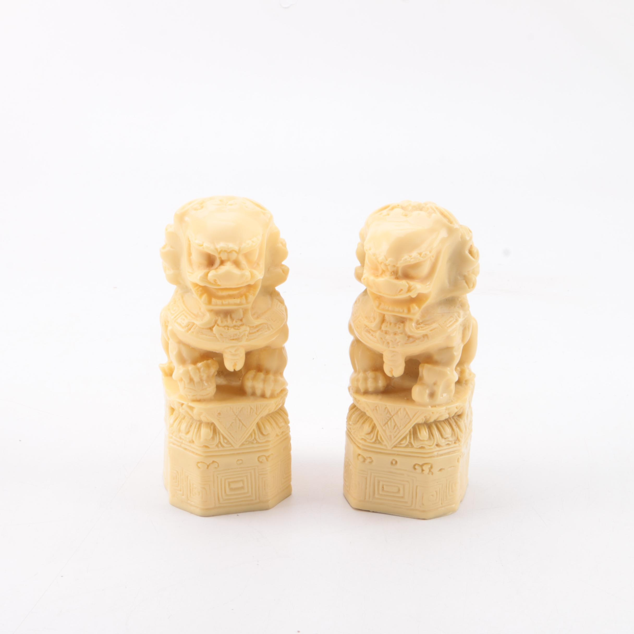 Carved White Resin Guardian Lion Figurines