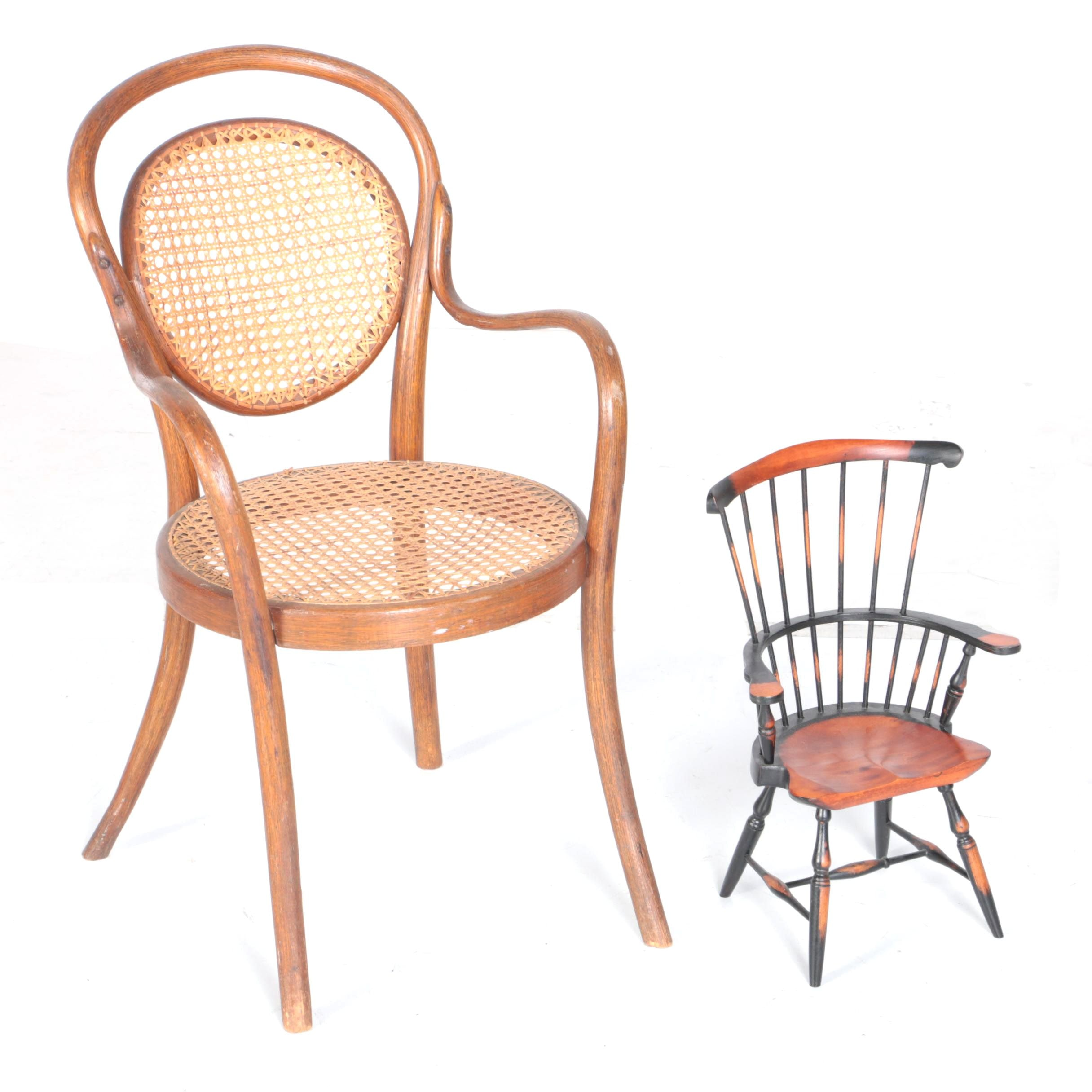 Vintage Caned Bentwood Armchair and Diminutive Windsor Style Armchair