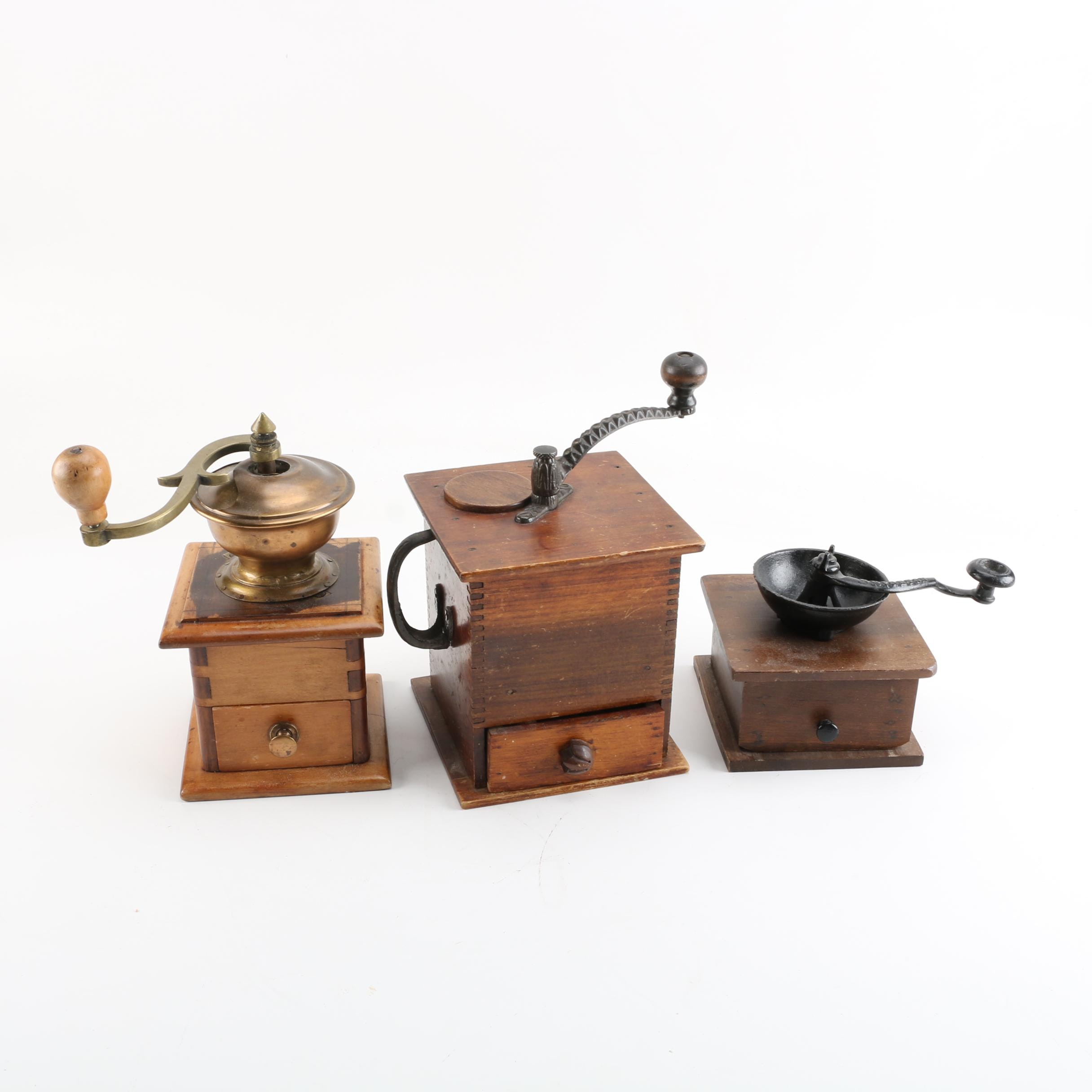 Antique Wooden Dovetailed Coffee Grinders