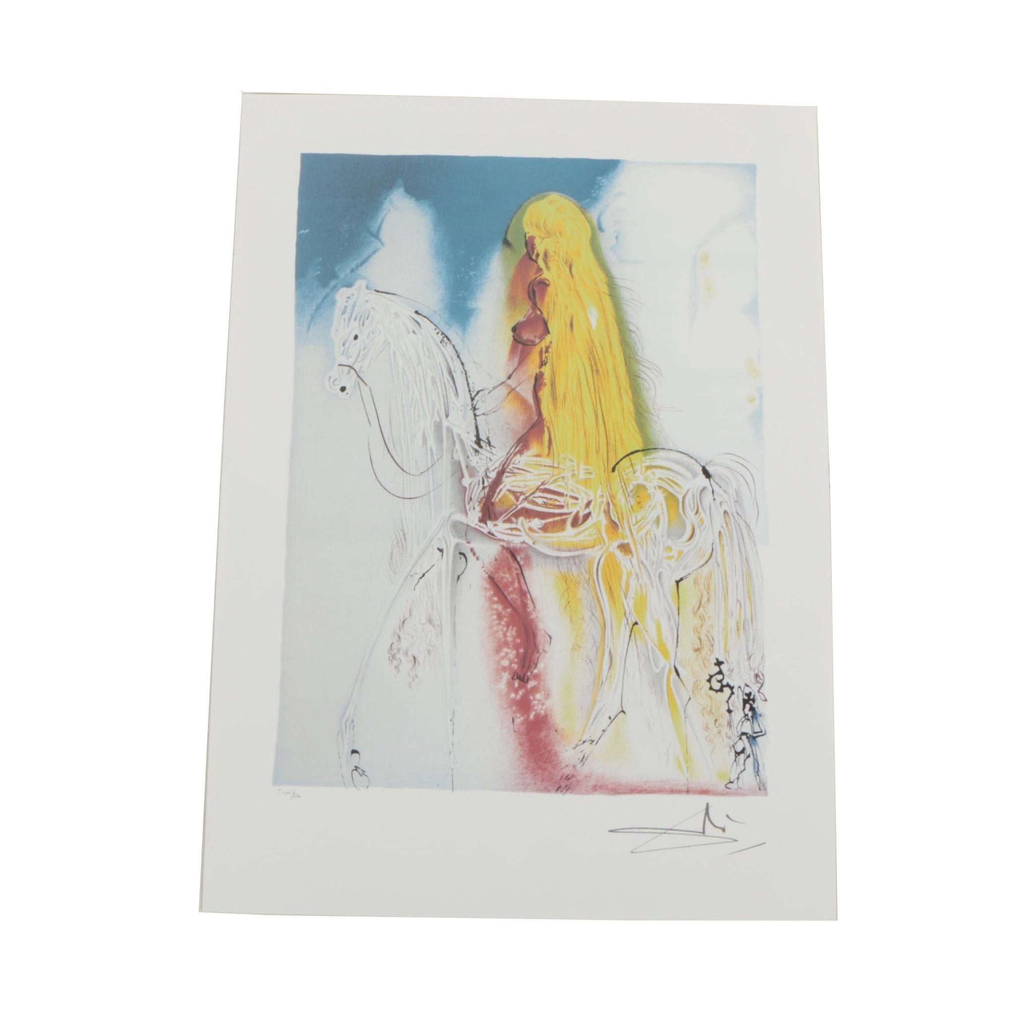 "Limited Edition Offset Lithograph After Salvador Dali's ""Lady Godiva"""