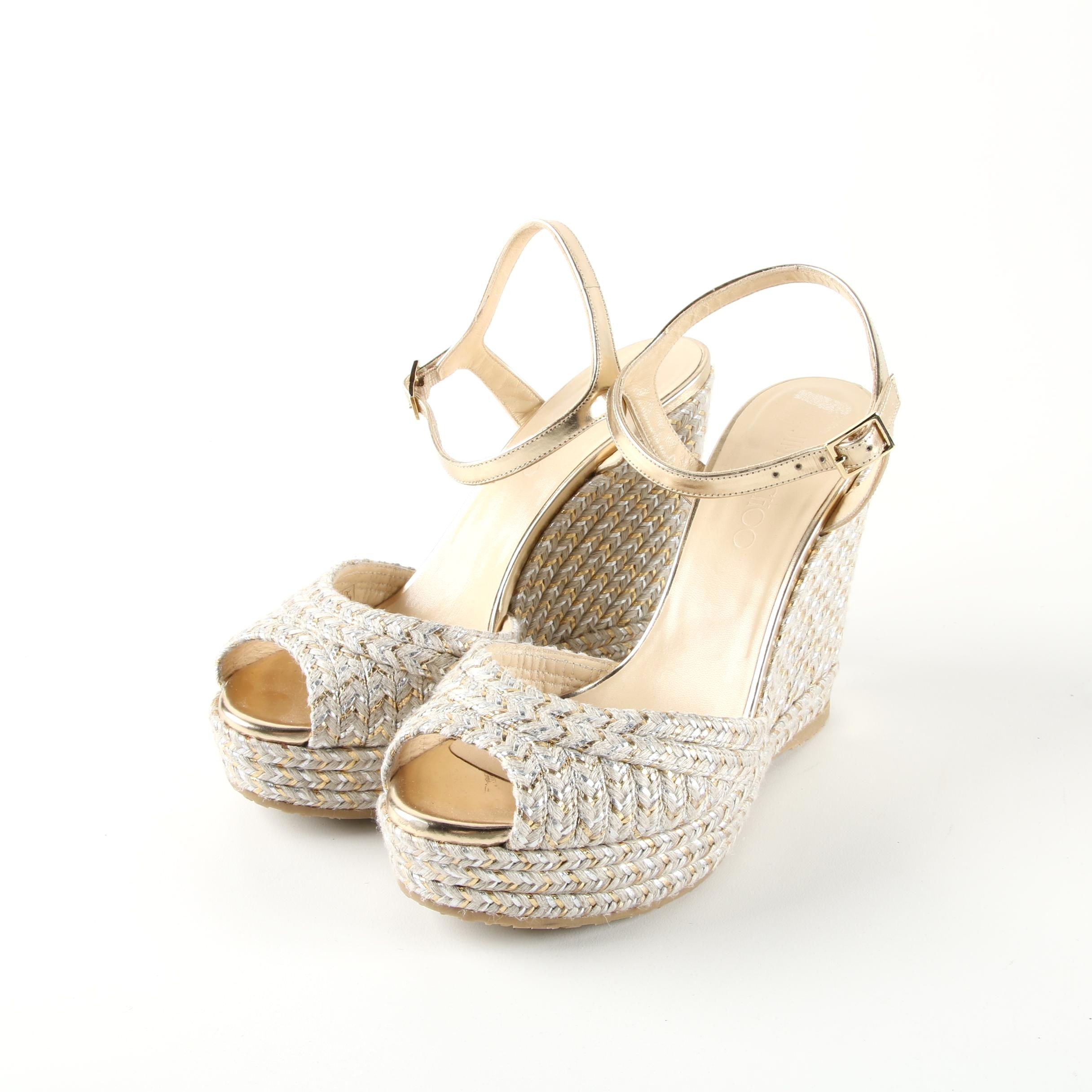 Jimmy Choo Off-White and Gold Woven and Gold Metallic Leather Espadrille Wedges