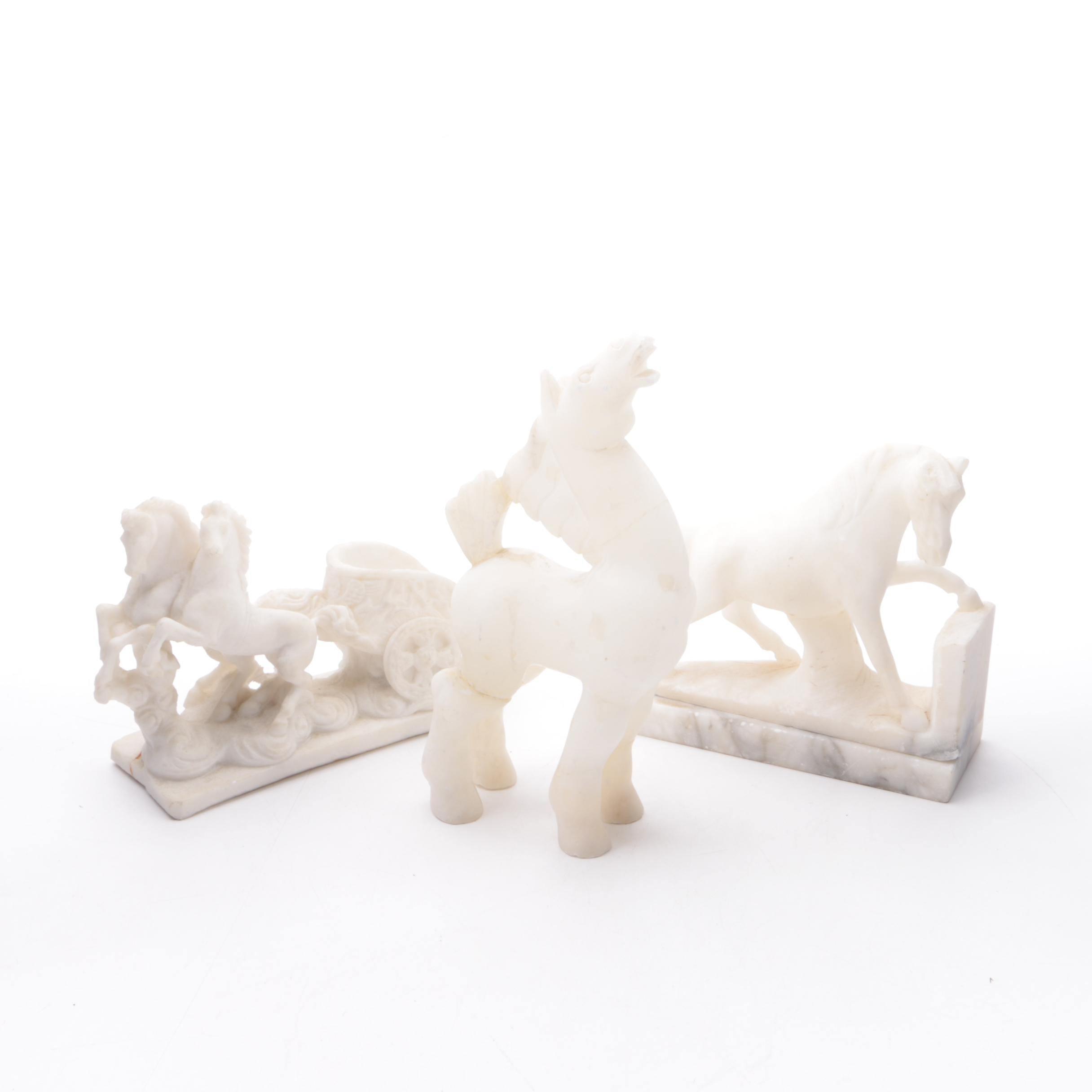 White Resin and Alabaster Horse Figurines