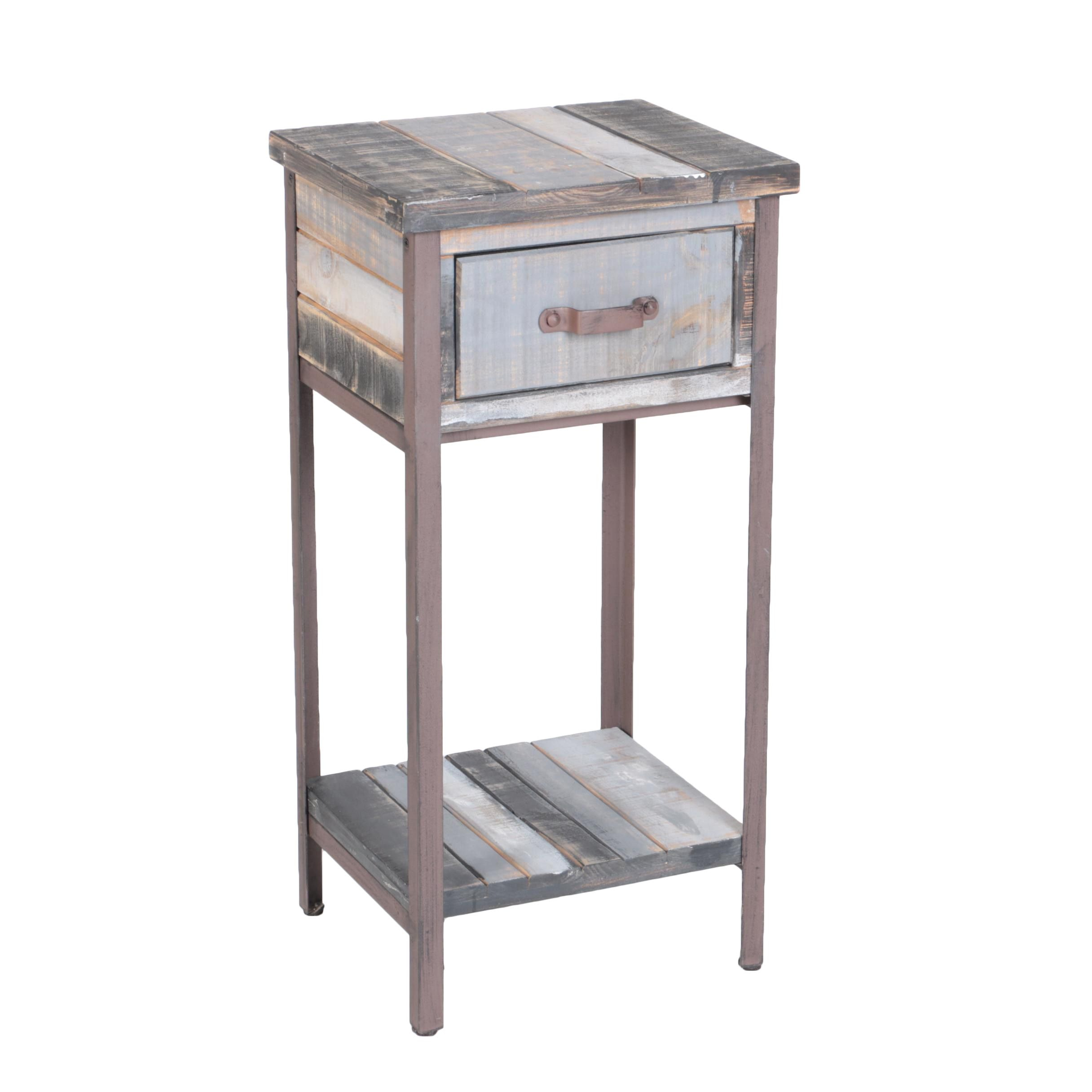 Rustic Style Reclaimed Wood Accent Table