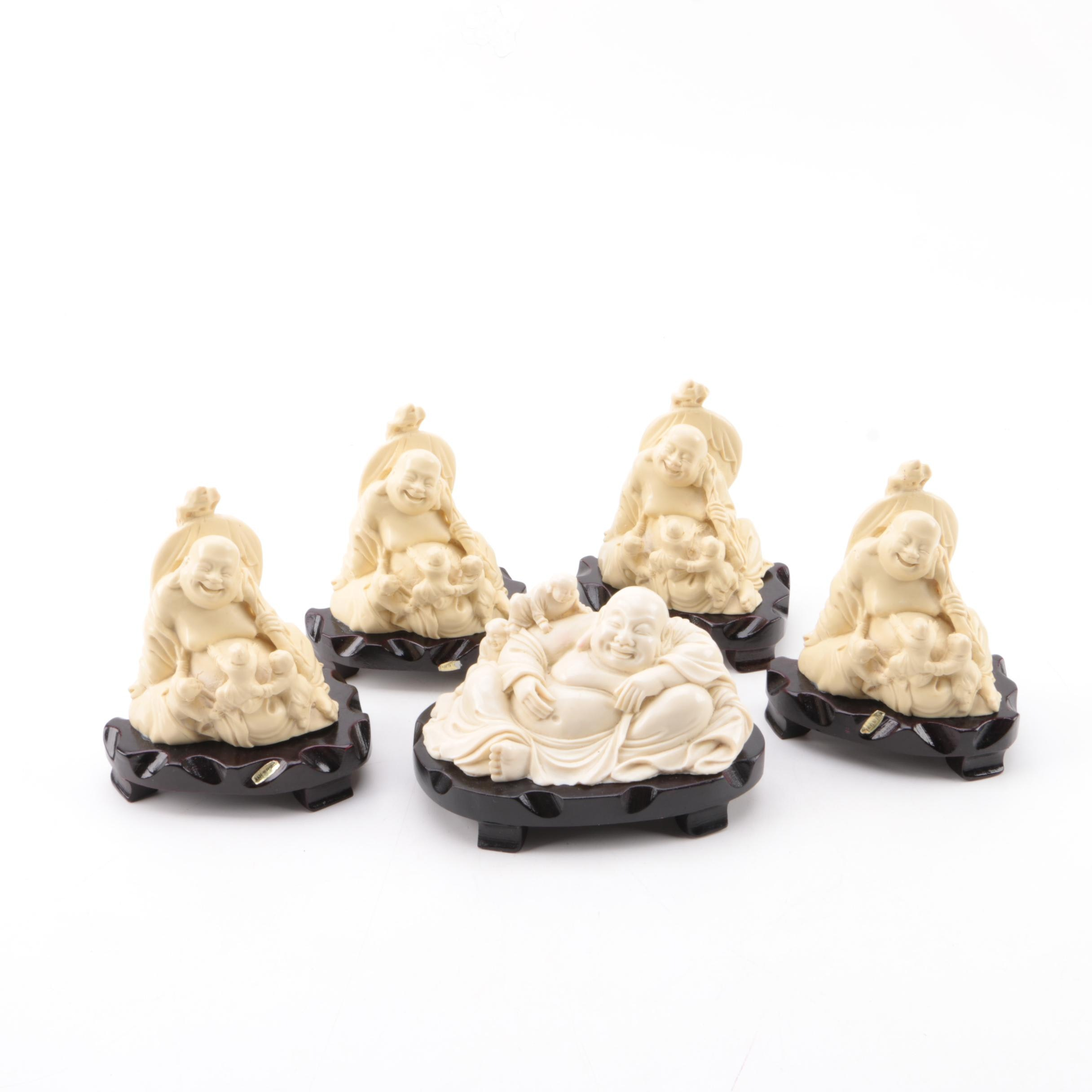 Chinese Resin Budai Figurines with Stands