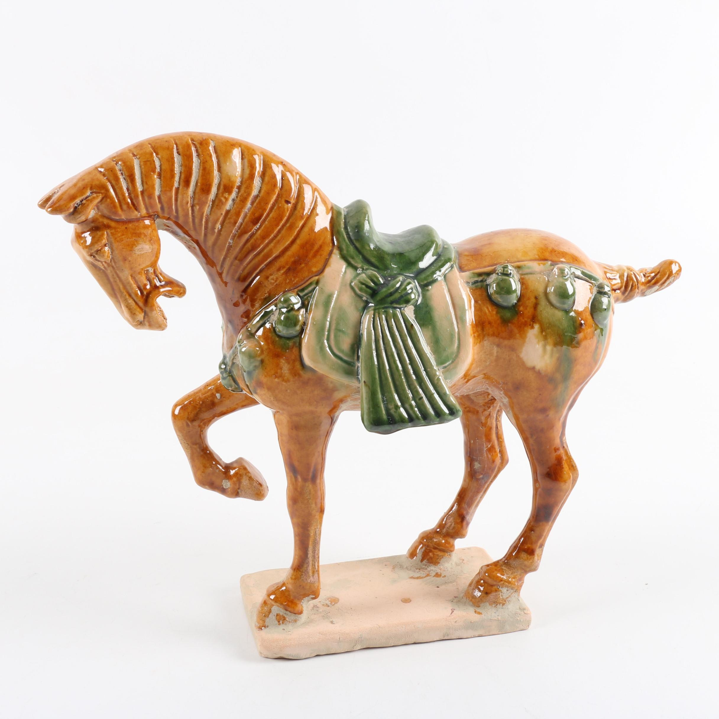 Chinese Tang Style Ceramic Horse Figurine