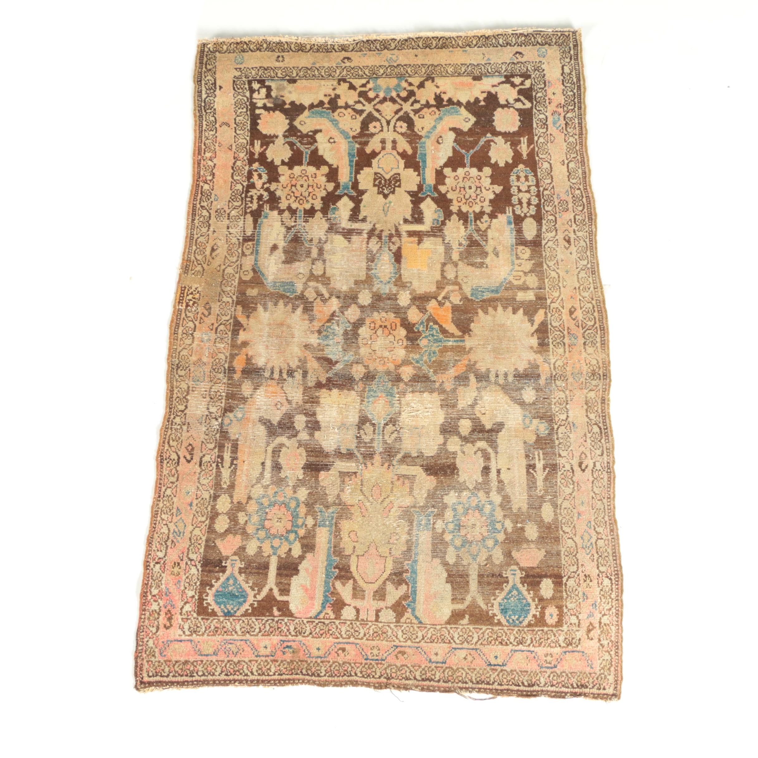 Antique Hand-Knotted Persian Hamadan Area Rug