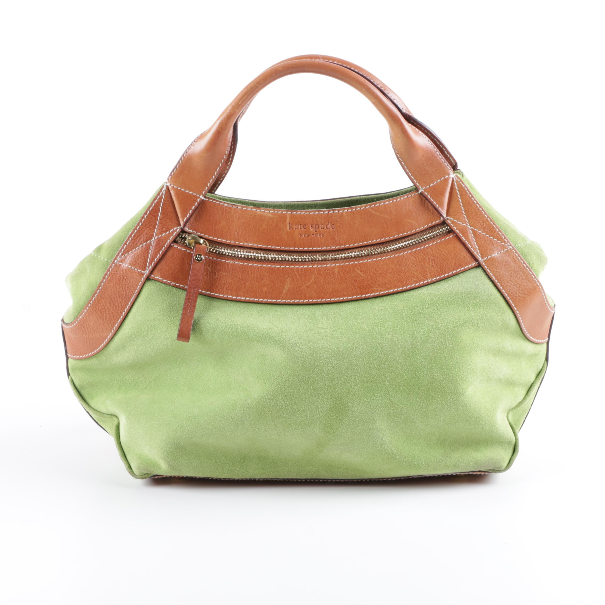 Kate Spade New York Lime Green Suede and Brown Leather Handbag
