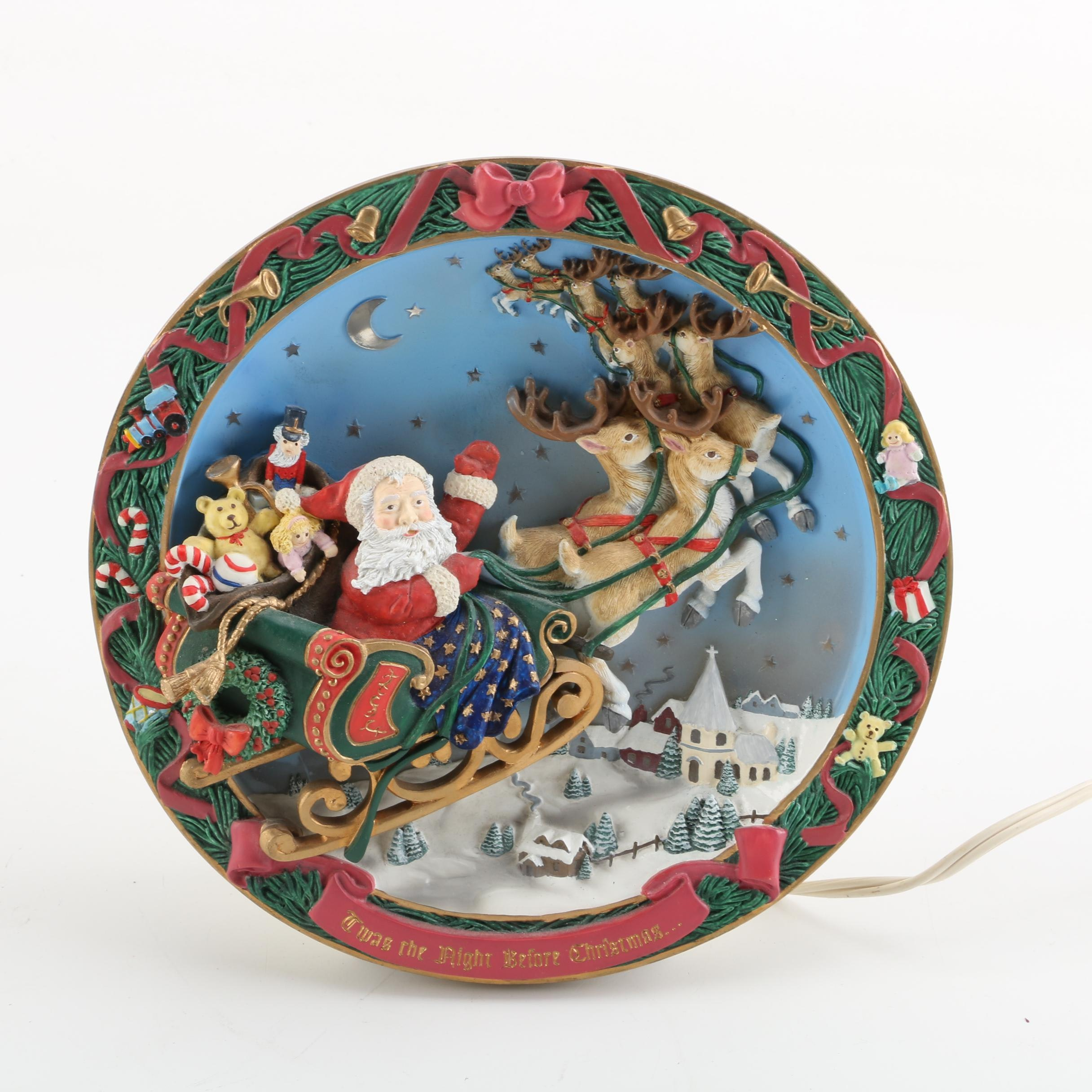 """1994 The Bradford Exchange """"Twas the Night Before Christmas"""" Musical Plate"""