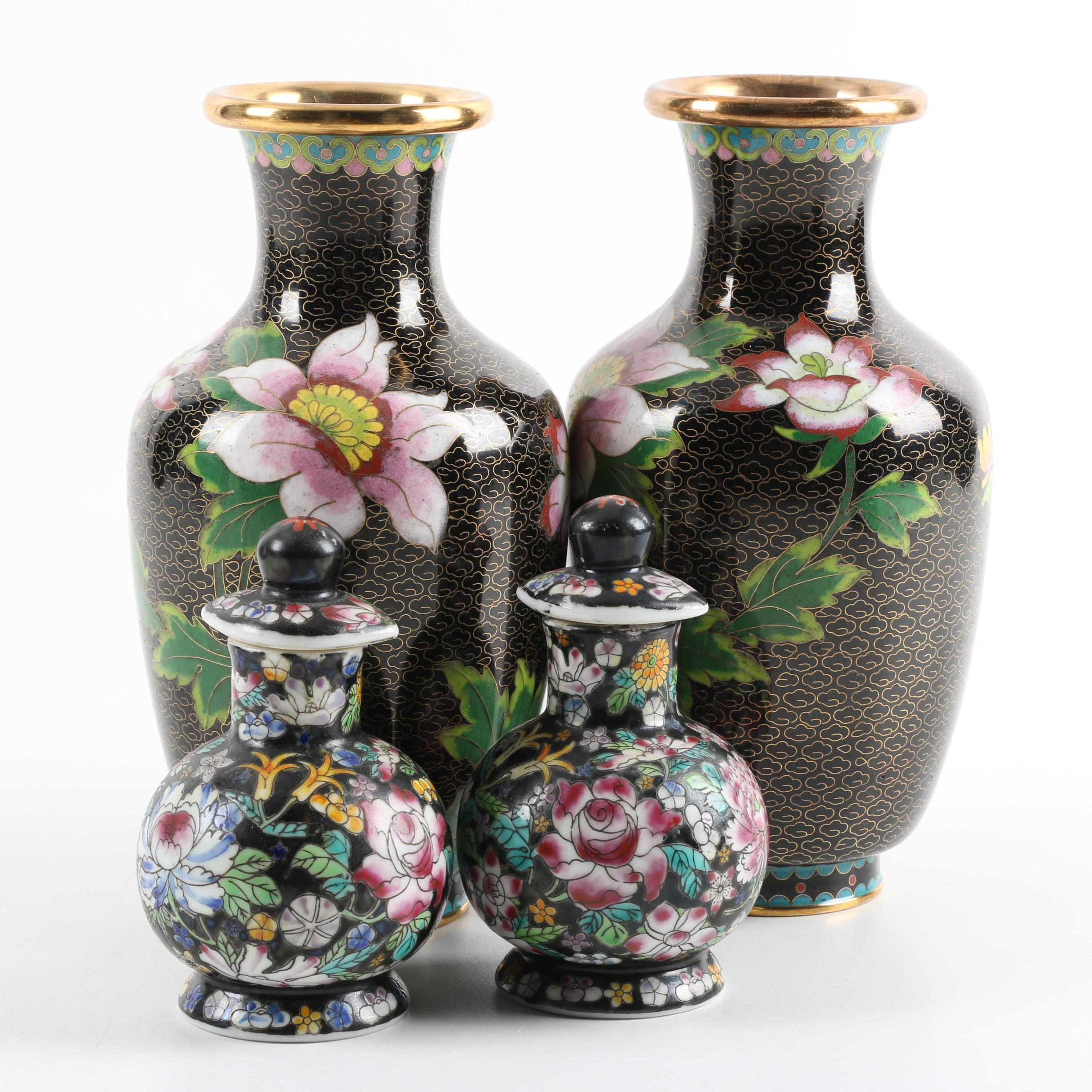 Chinese Hand-Painted Ceramic and Cloisonne Vases