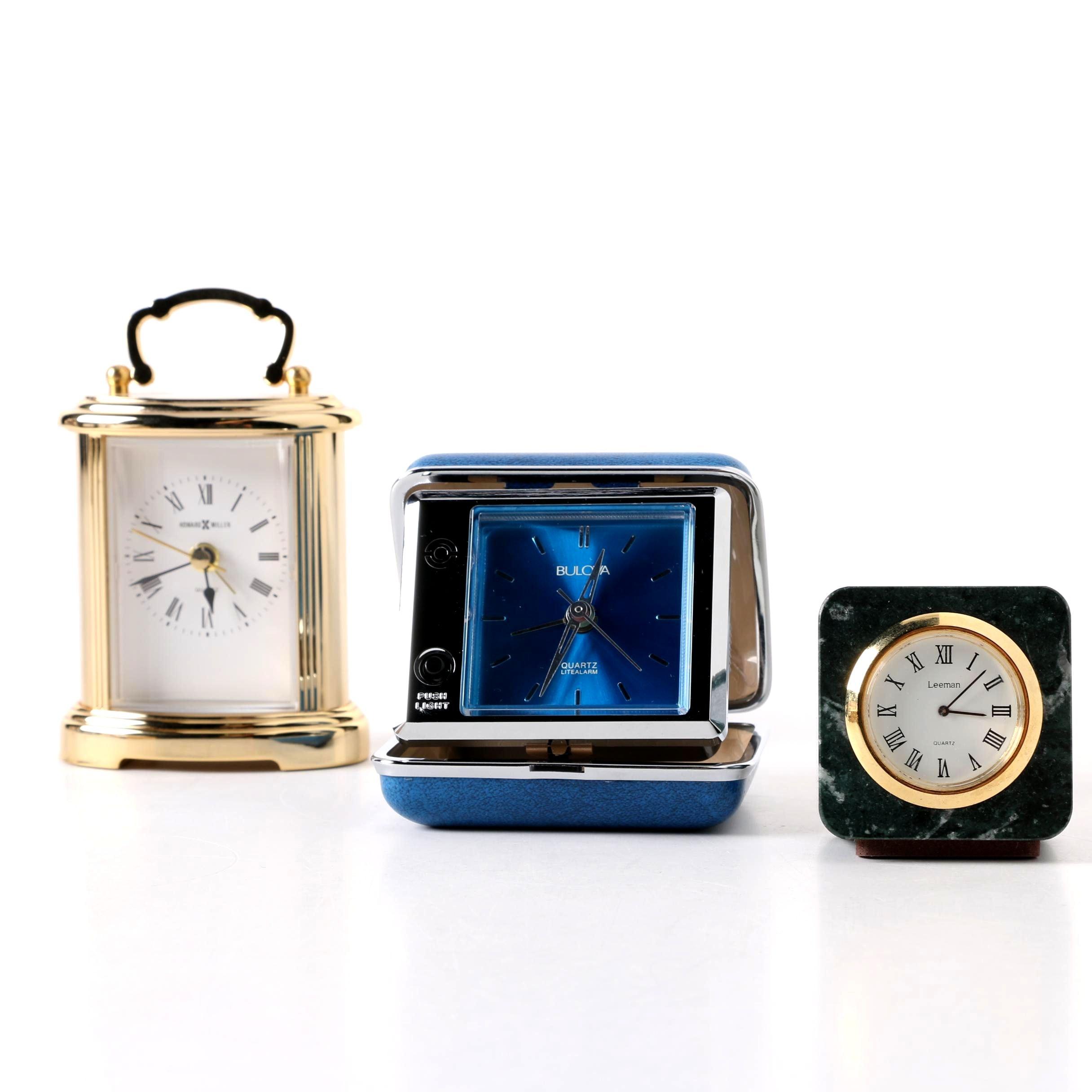 Shelf and Travel Alarm Clocks Featuring Howard Miller