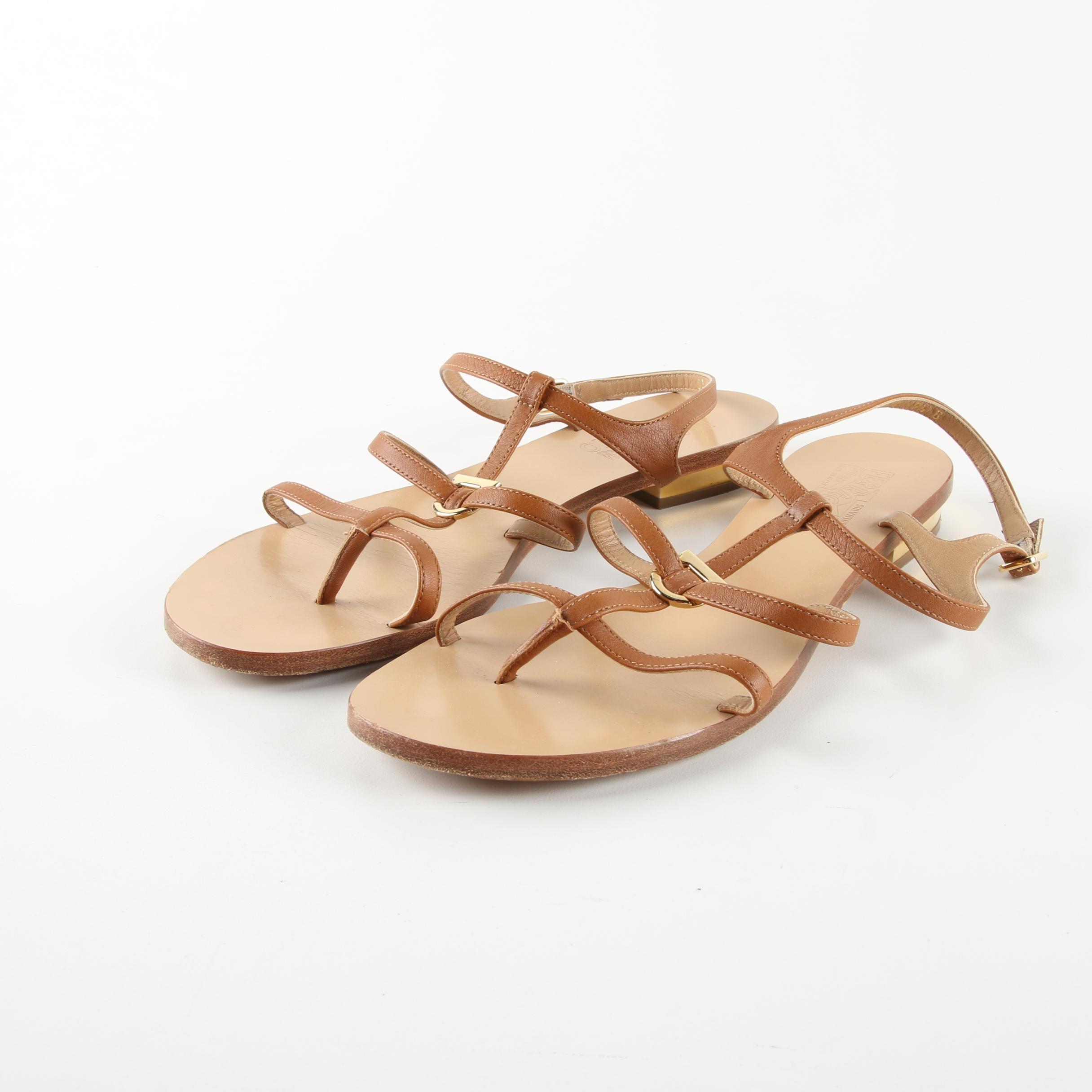 Women's Salvatore Ferragamo Brown Leather Sandals, Made in Italy