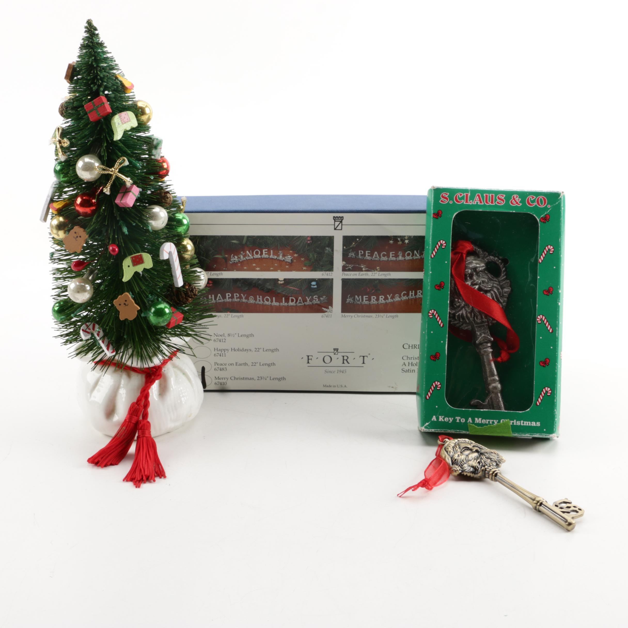 "Fort Pewter ""Merry Christmas"" Letter Train and Dept. 56 Christmas Tree"