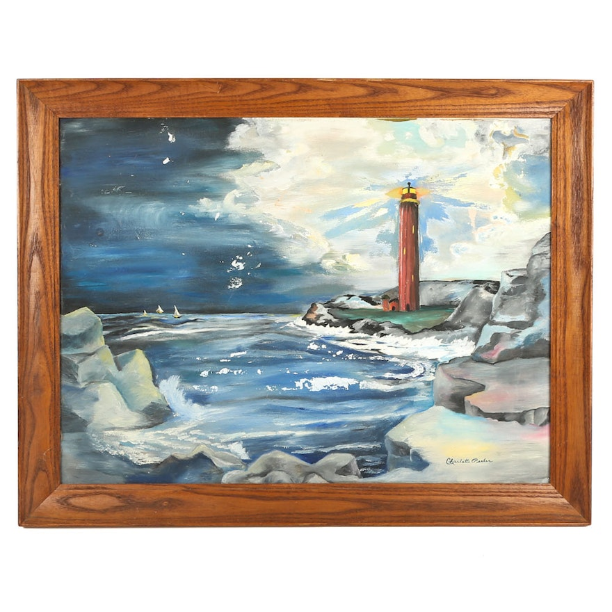 Charlotte Peeler Acrylic on Board of a Lighthouse at Night
