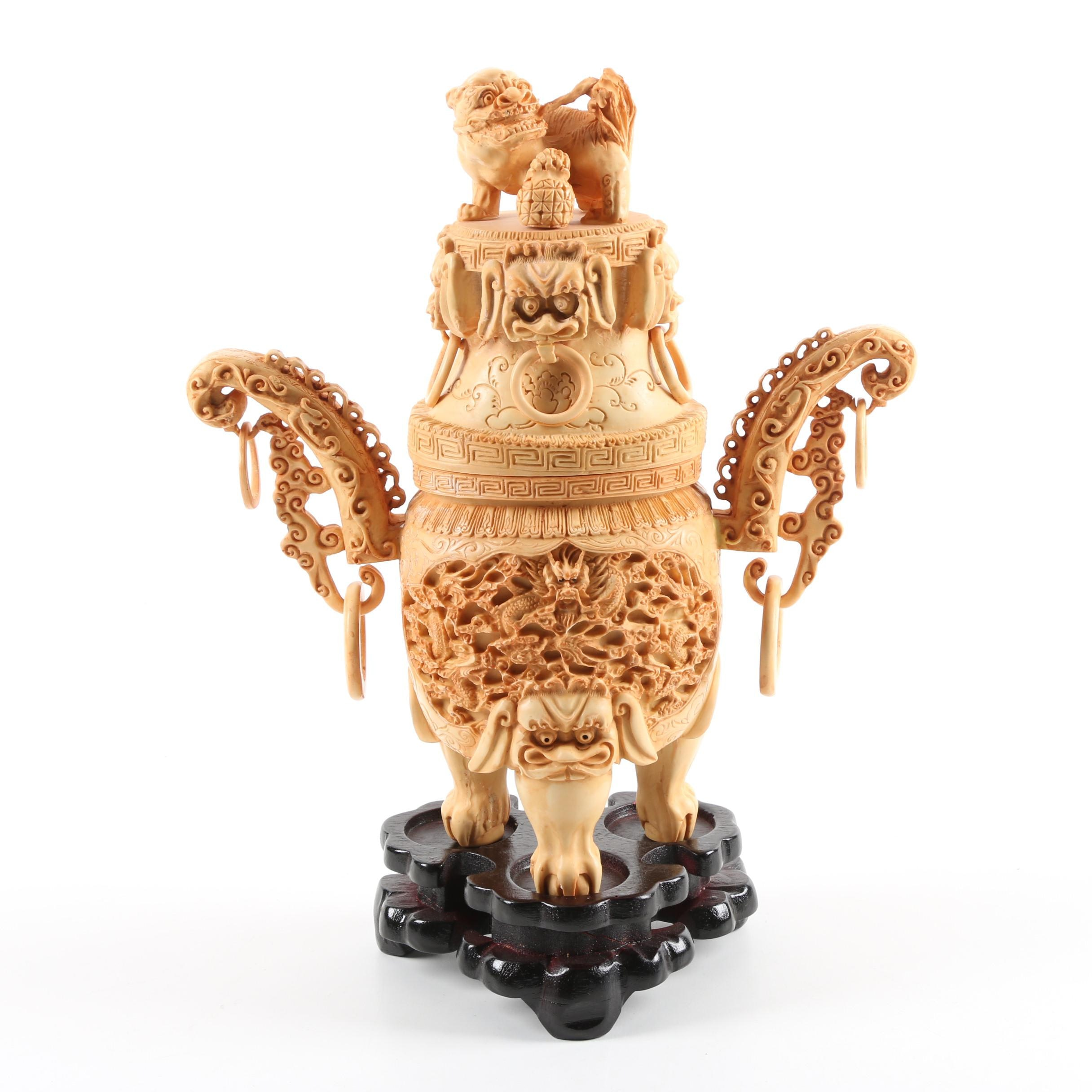 Chinese Carved Resin Censer with Wooden Stand