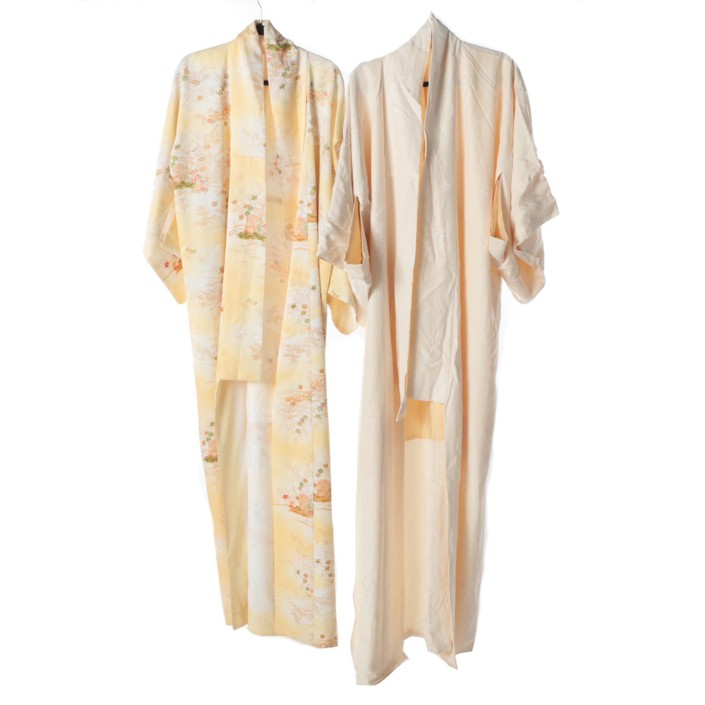 Pair of Vintage Japanese Silk Kimono