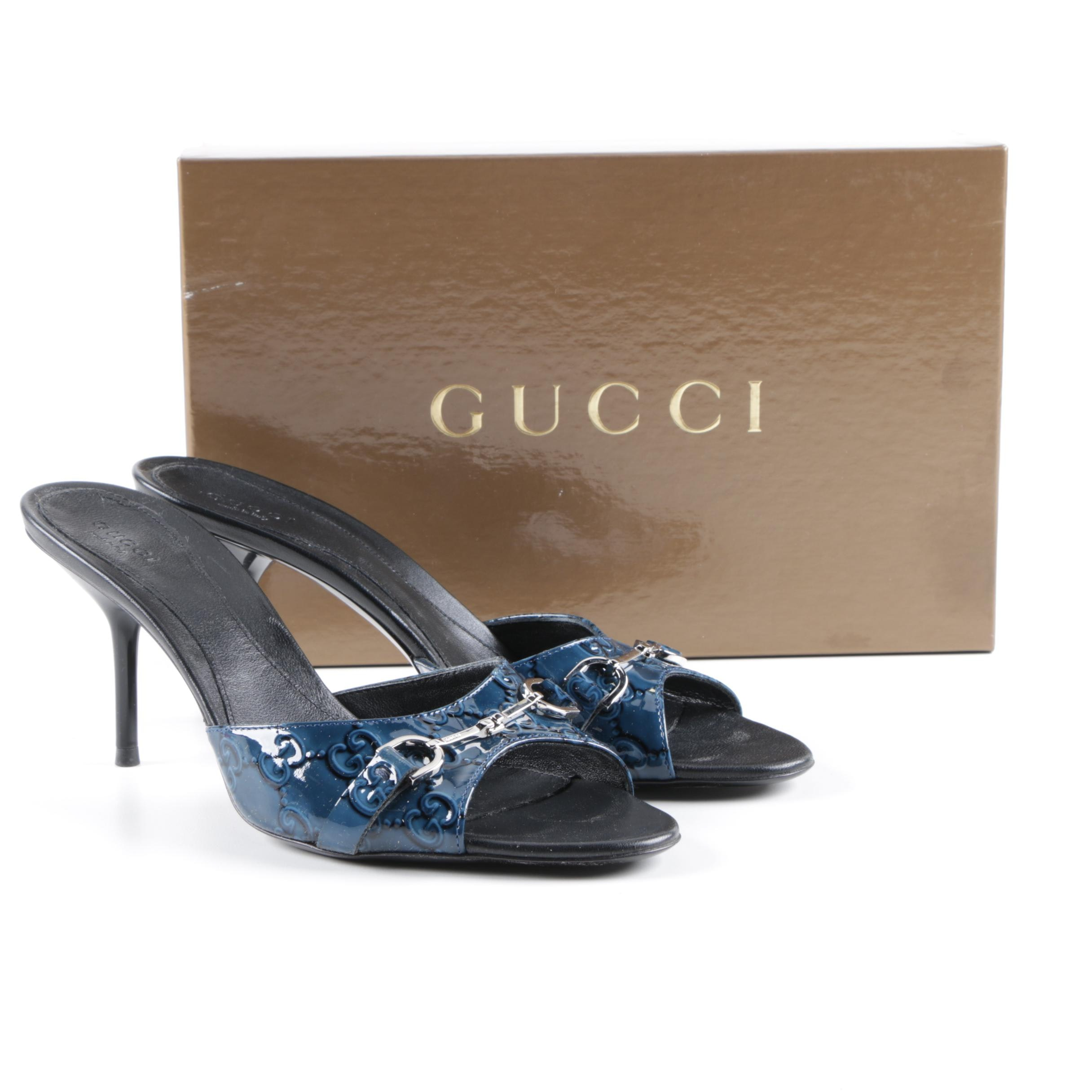 Gucci Guccissima Blue Patent Leather Heeled Sandals