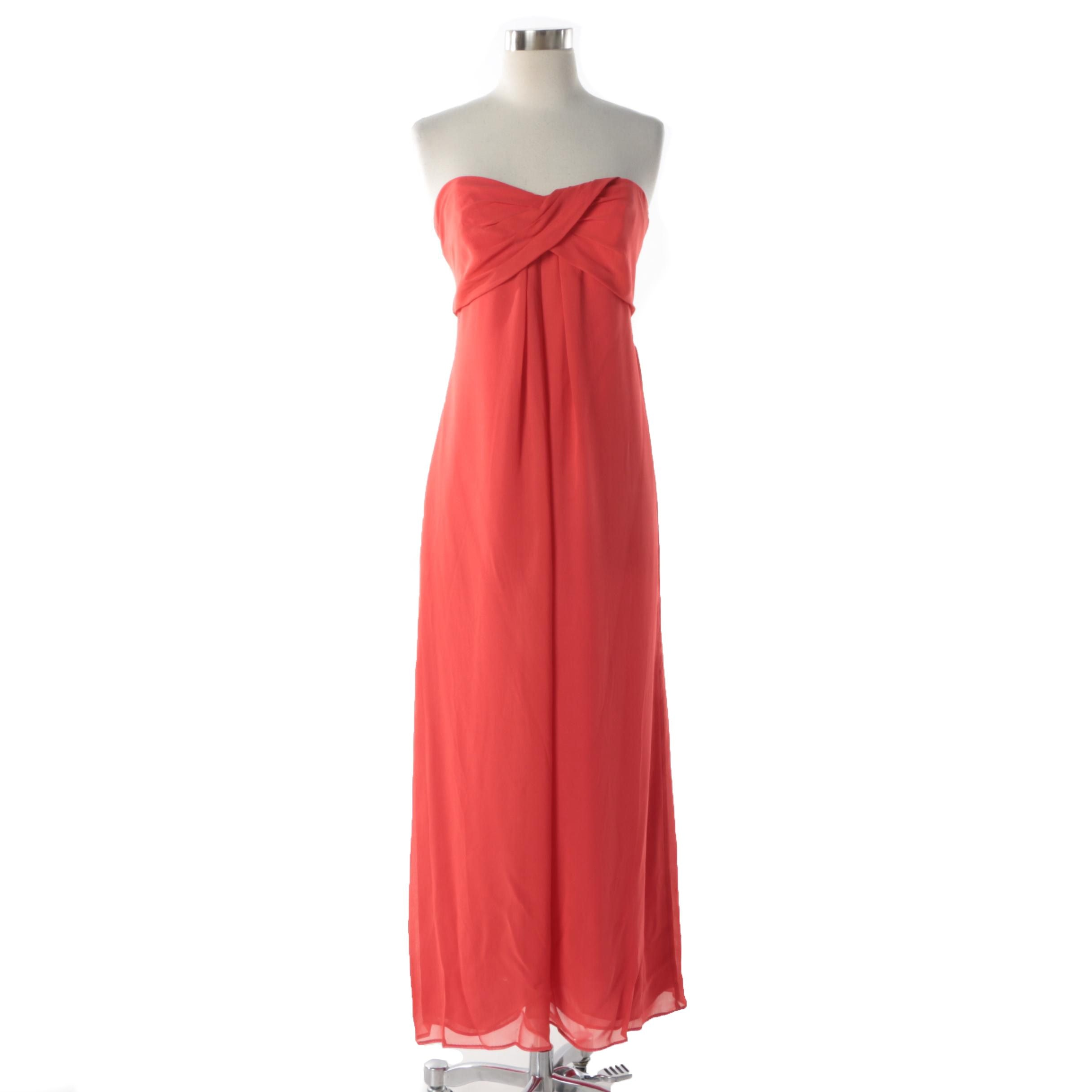 Nicole Miller New York City Coral Silk Blend Strapless Gown