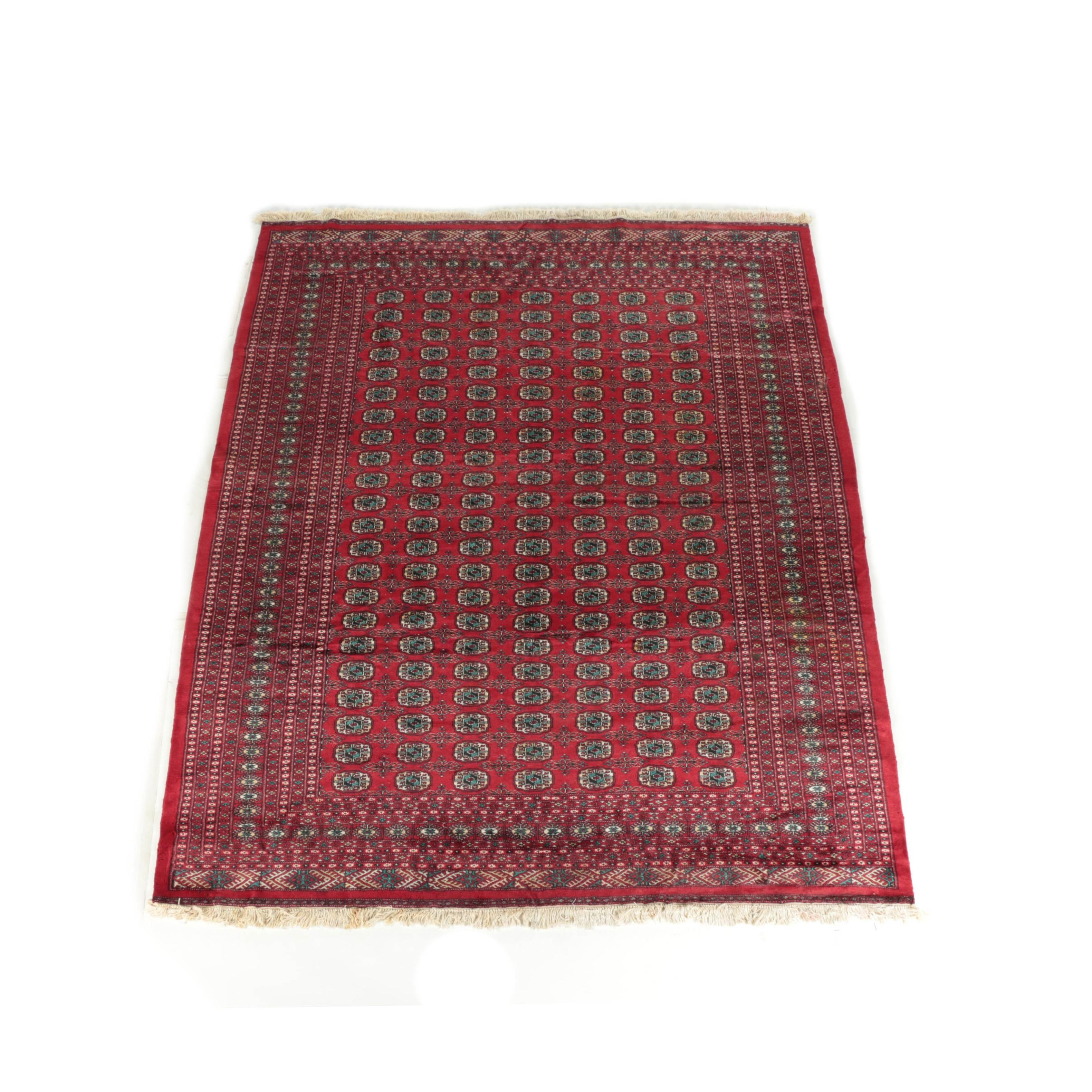 Vintage Hand-Knotted Afghan Bokhara Wool Area Rug
