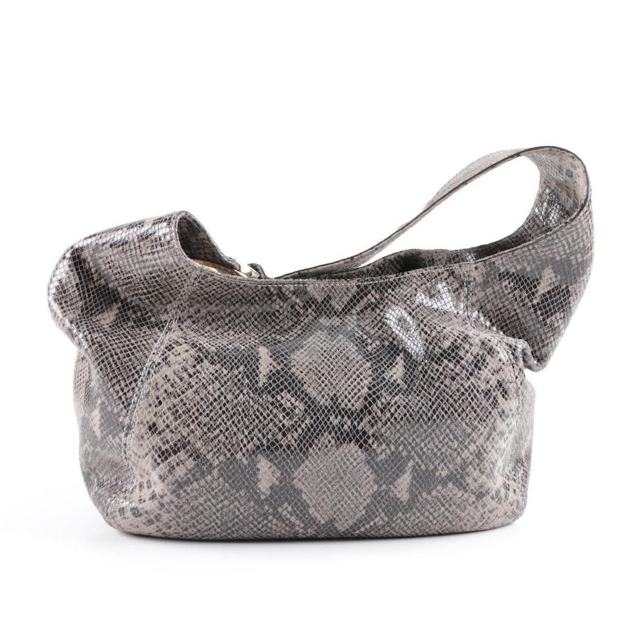 4c78e0a9520 MICHAEL Michael Kors Python Snakeskin Print Leather Hobo Bag   EBTH