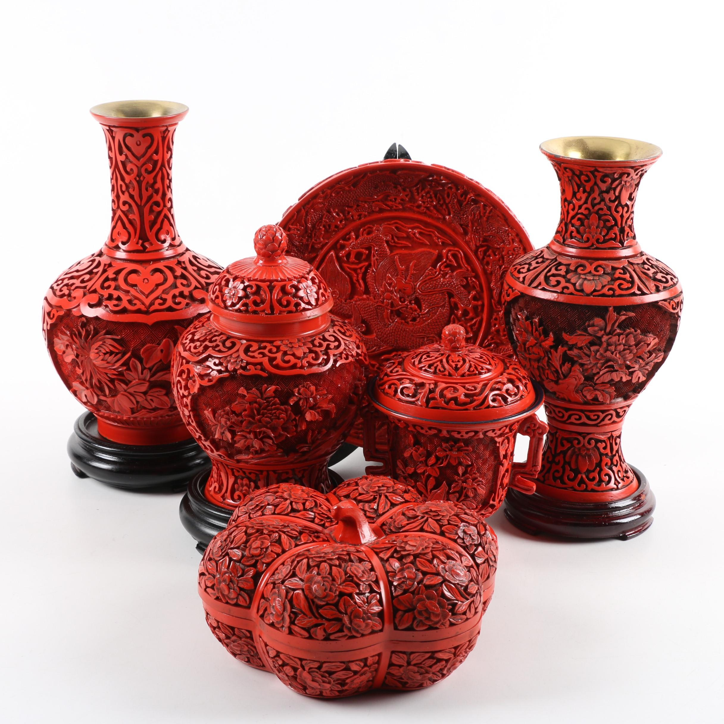 Chinese Carved Cinnabar Style Resin Vases, a Trinket Box, and Plate