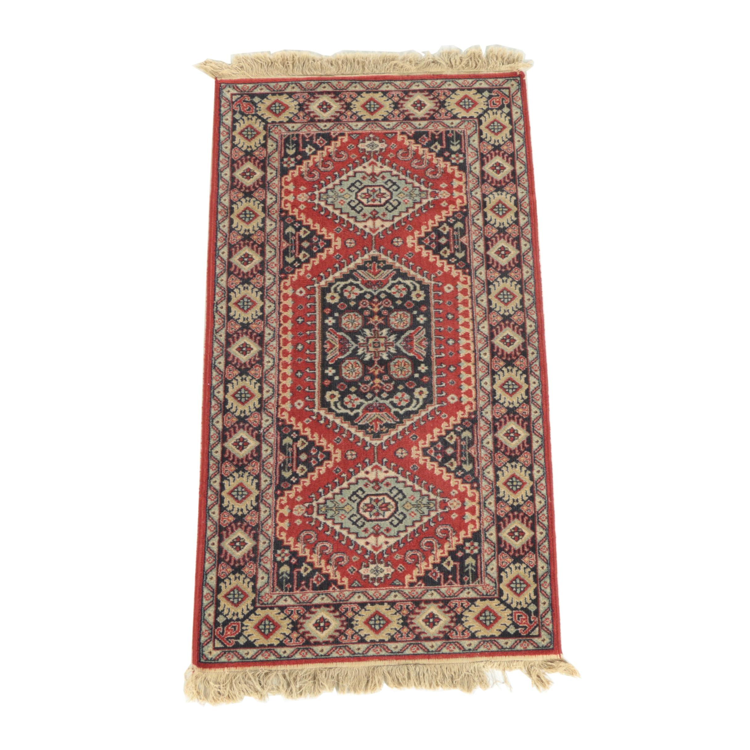 Vintage Power-Loomed Caucasian Kazak Style Wool Accent Rug