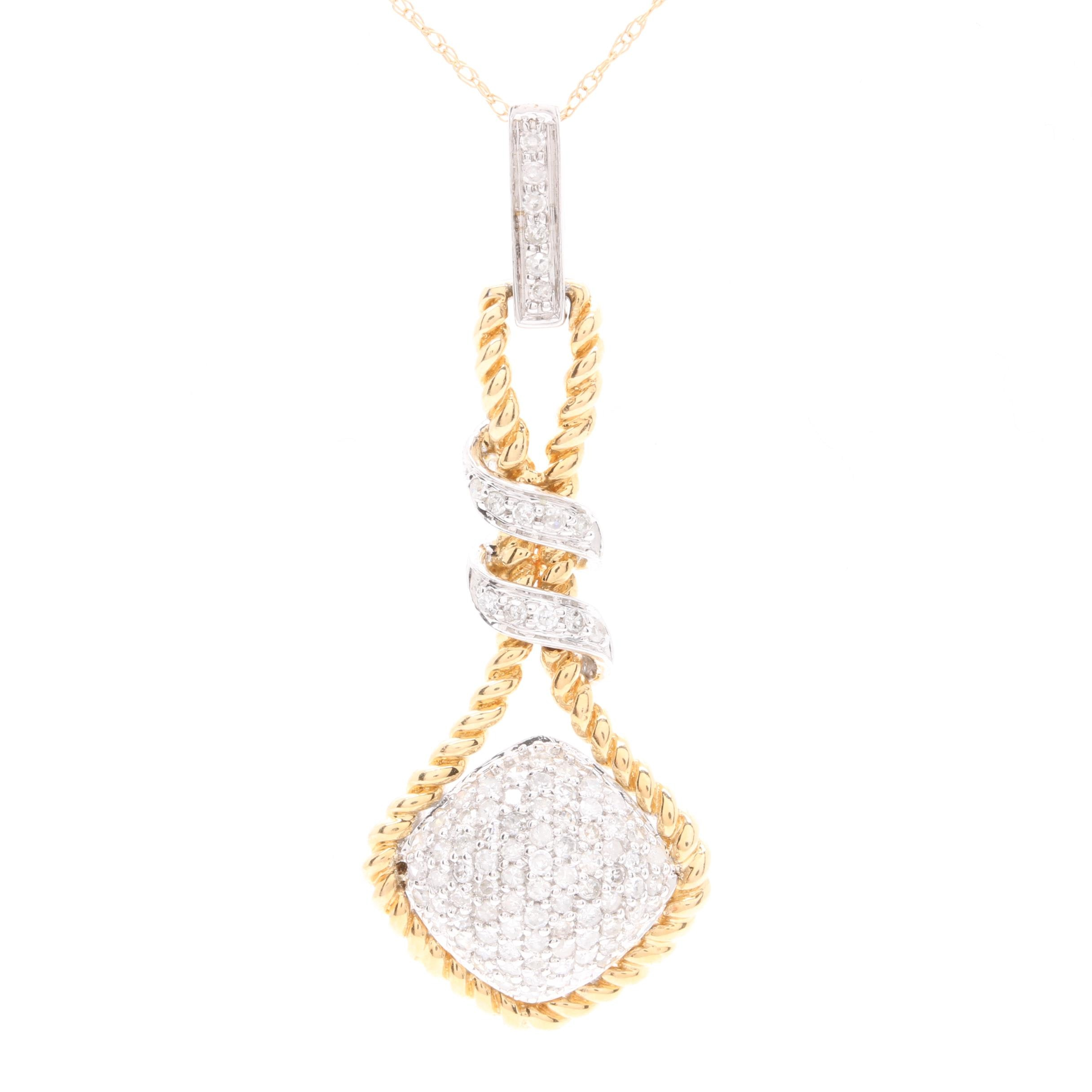 14K Yellow Gold Diamond Pendant with 14K White Gold Accents
