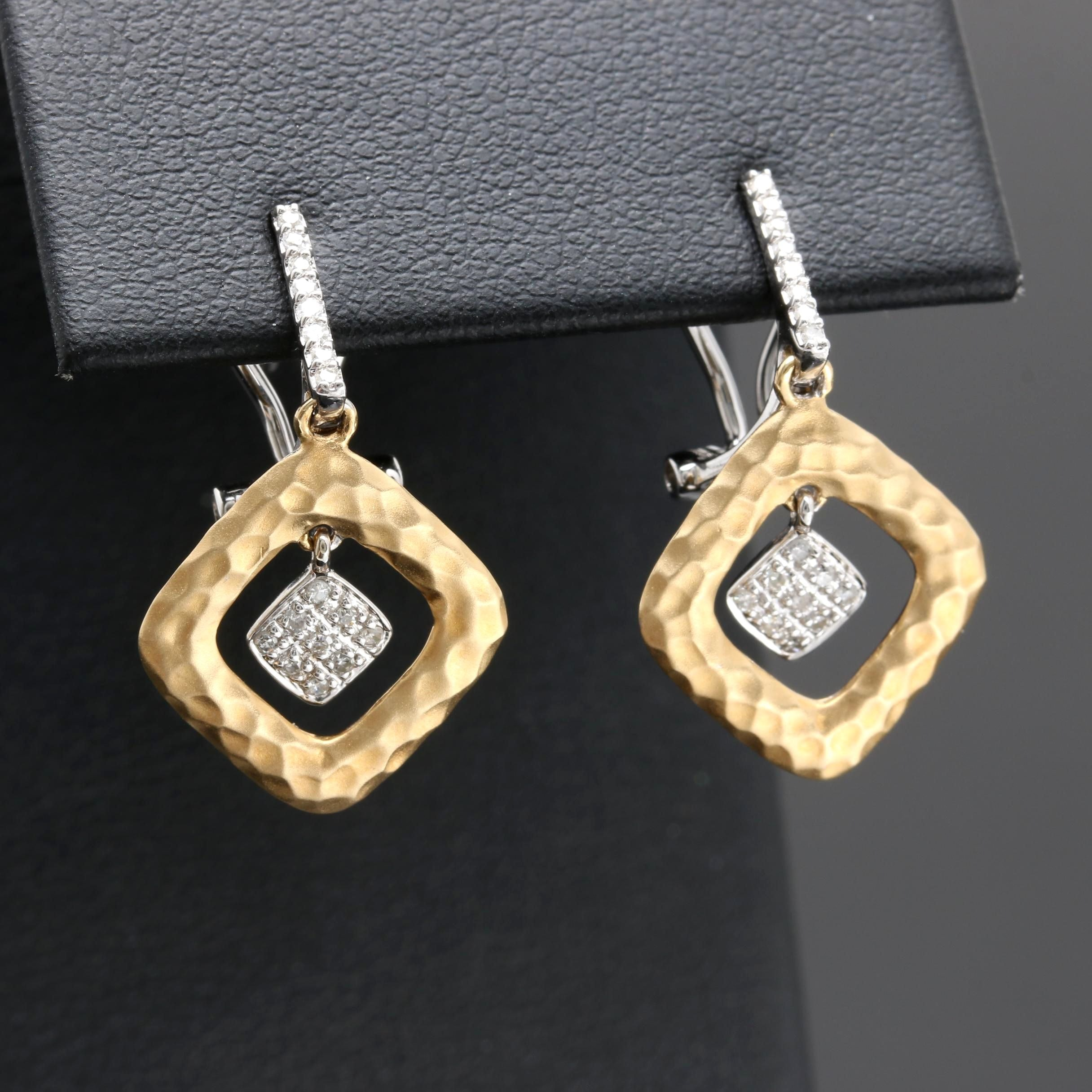 14K Two Tone Gold Diamond Dangle Earrings