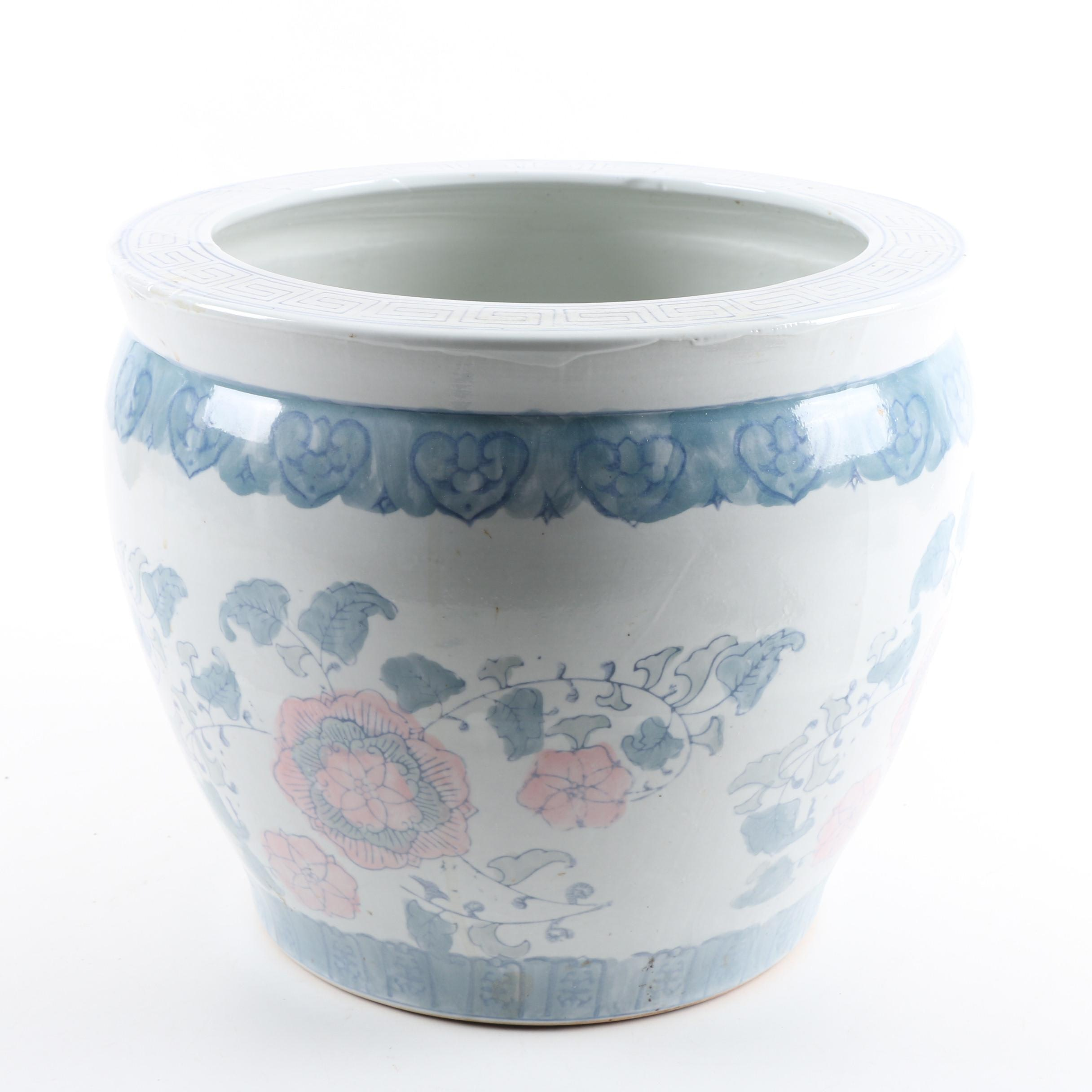 Vintage Chinese Hand-Painted Ceramic Planter