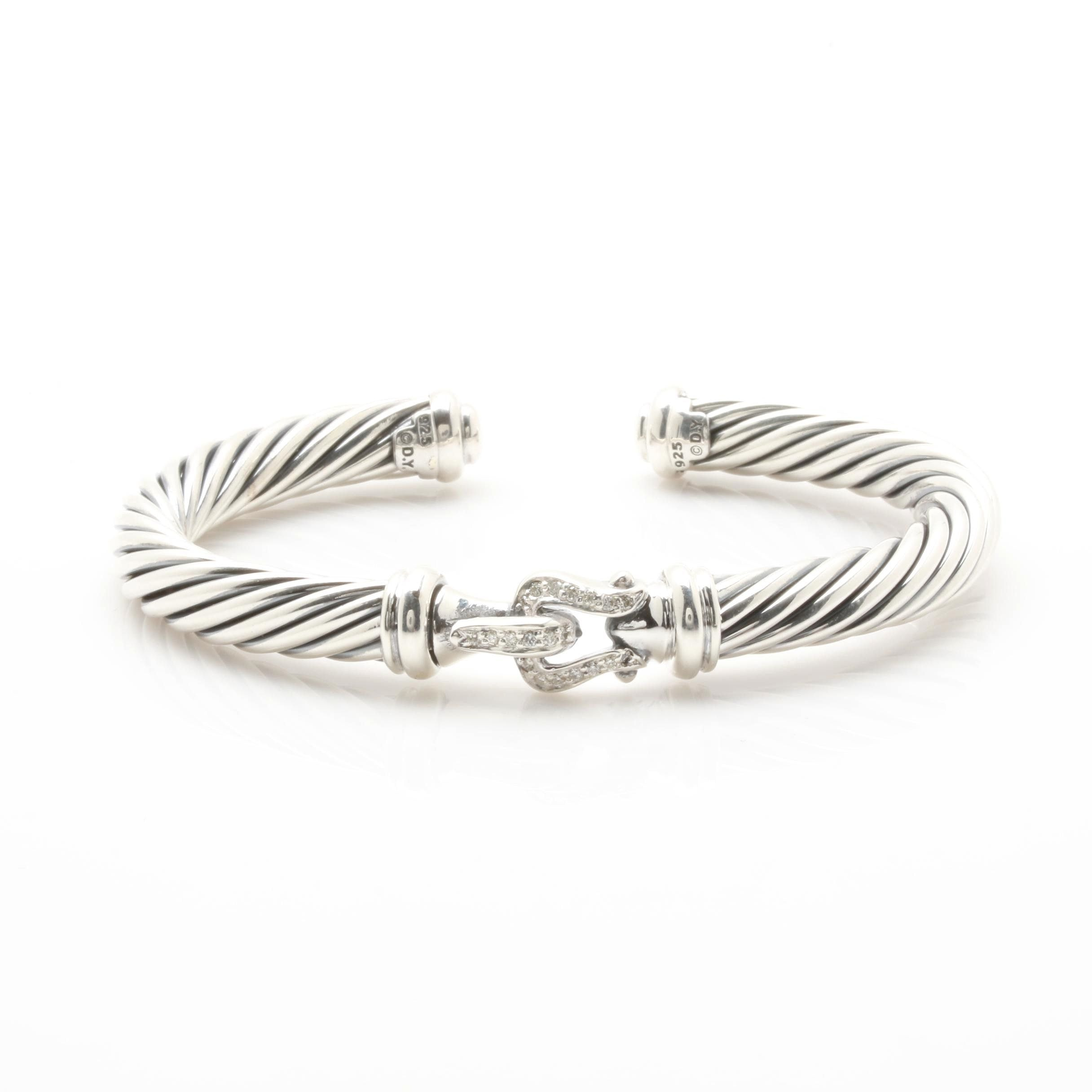 "David Yurman ""Cable Buckle"" Diamond Cuff Bracelet"