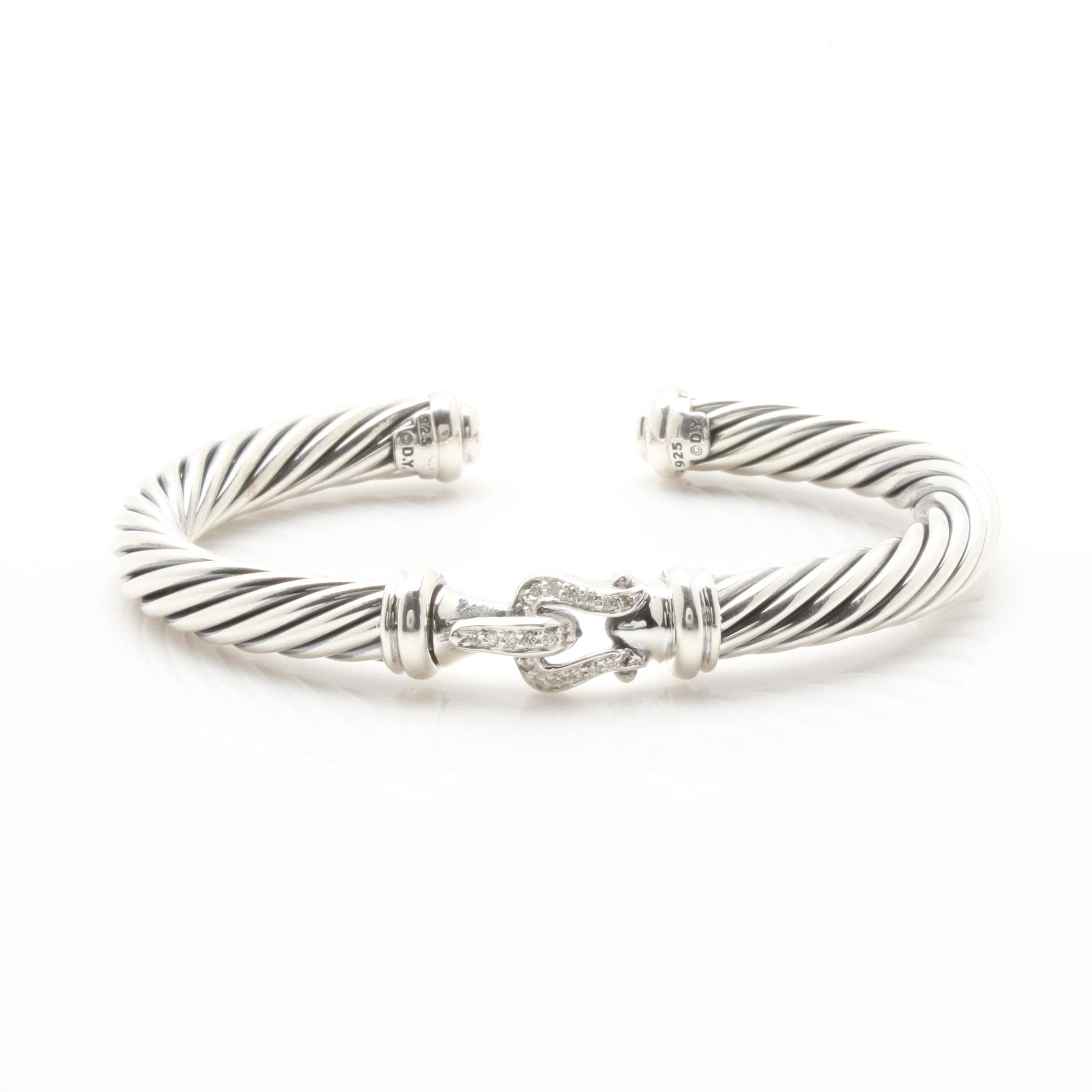 "David Yurman ""Cable Buckle"" Diamond Cuff Bracelet"