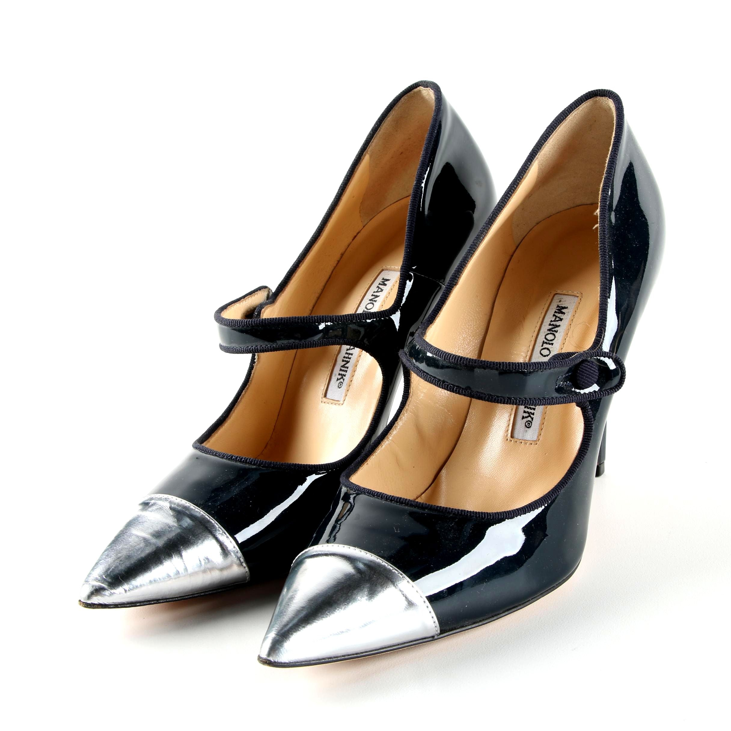 Manolo Blahnik Navy and Silver Metallic Patent Leather Pumps