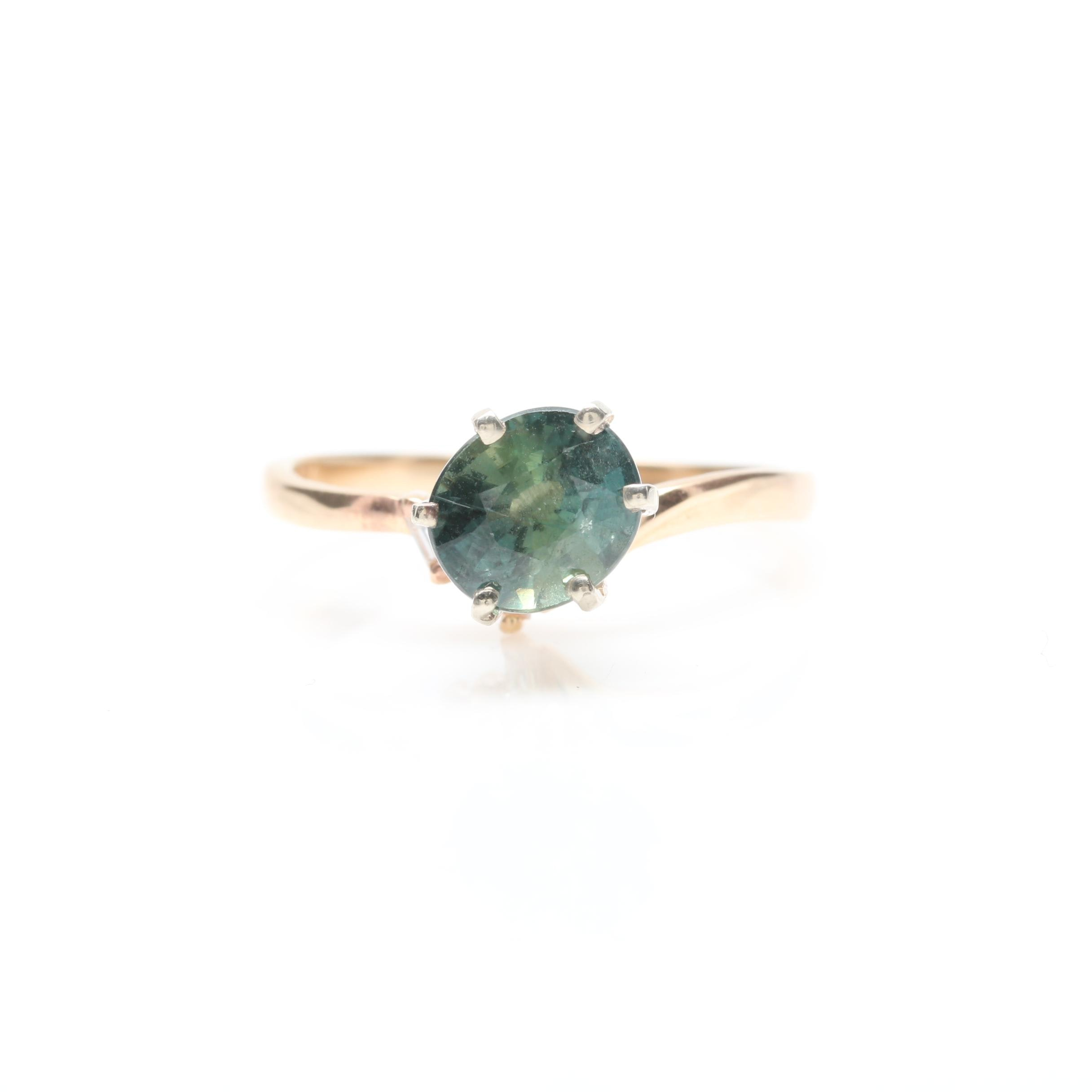 14K Yellow Gold Untreated 1.68  CT Sapphire and Diamond Ring