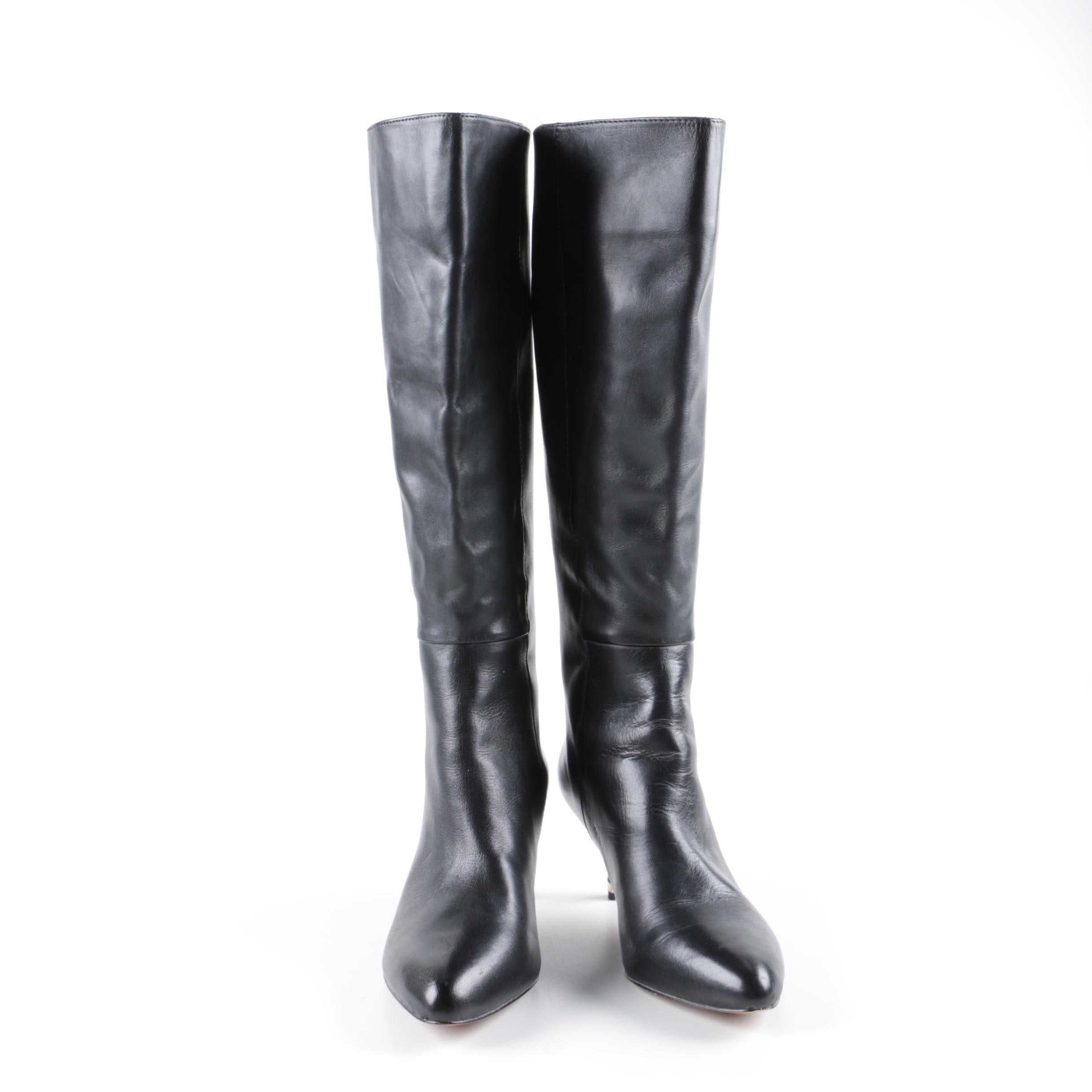 Women's Coach Fayth Black Leather High-Heeled Tall Boots