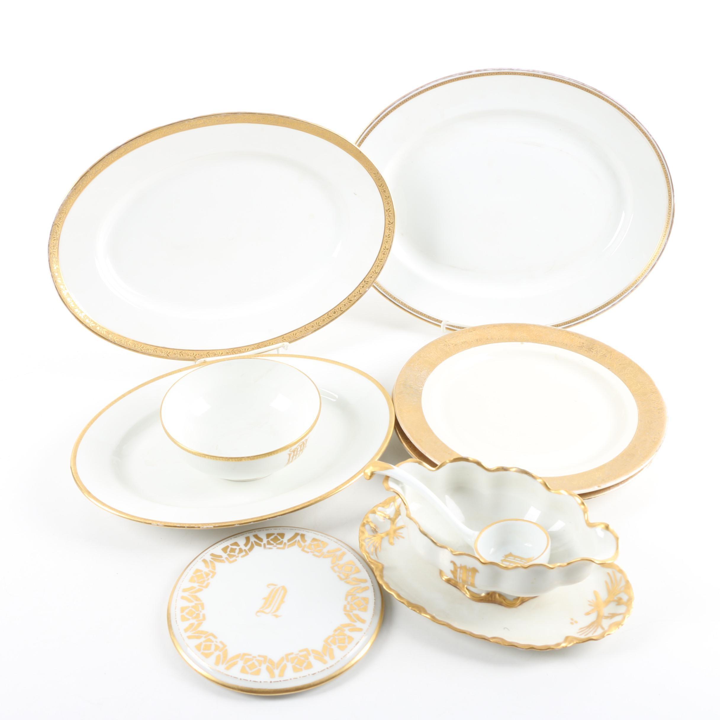 Gilt Porcelain Serveware Including Vintage Limoges