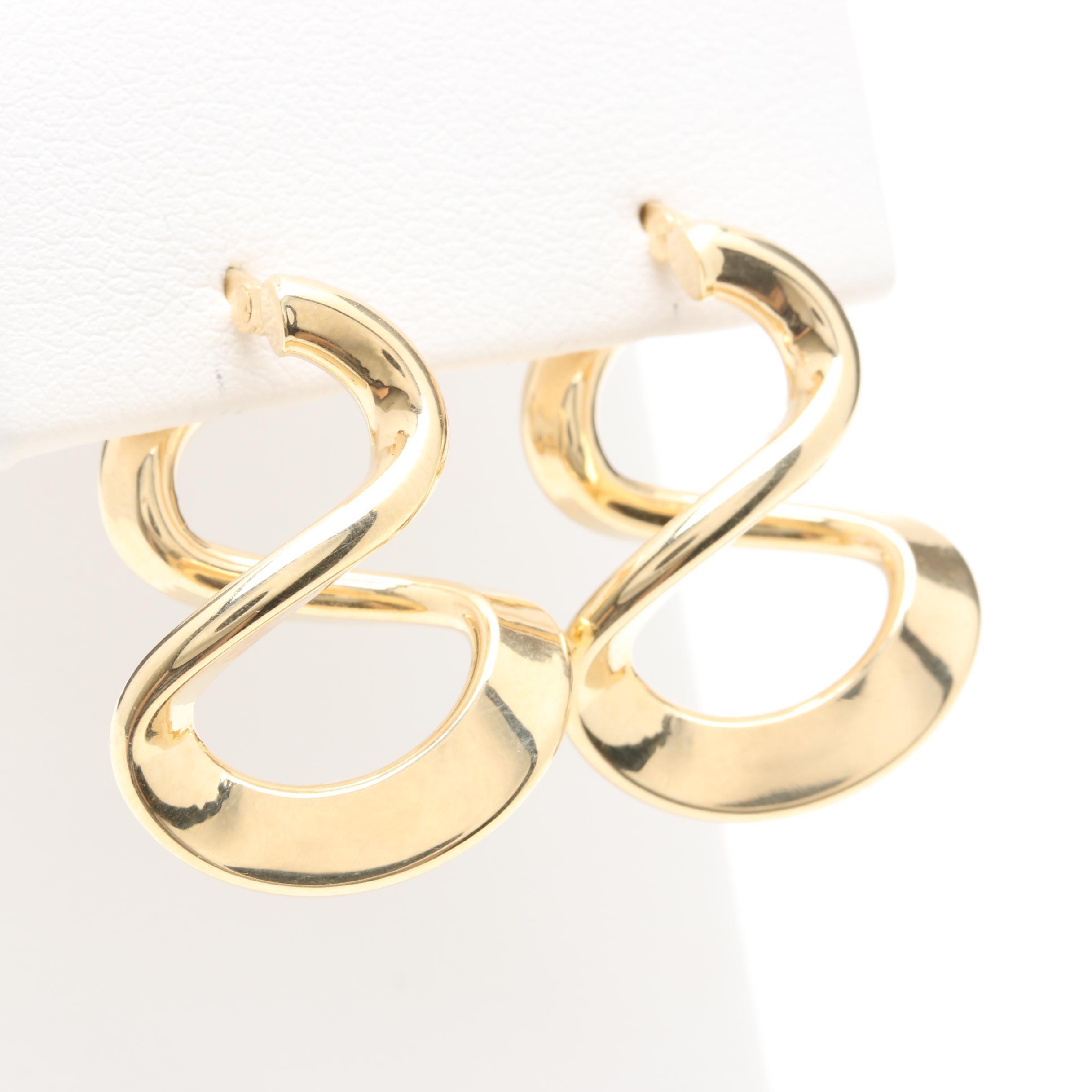 14K Yellow Gold Twisted Earrings