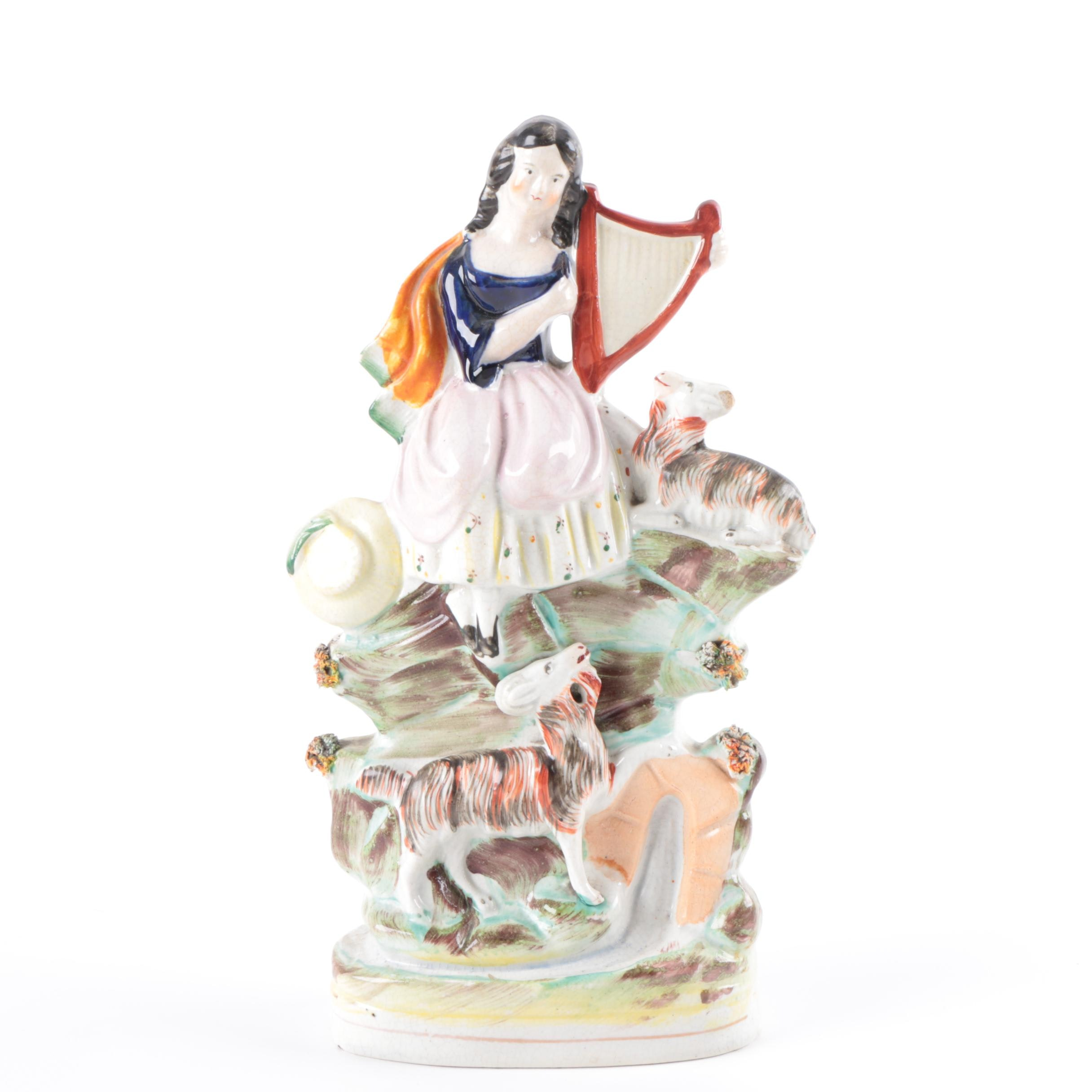 Harpist with Goat Ceramic Staffordshire Figurine with Bocage Decoration