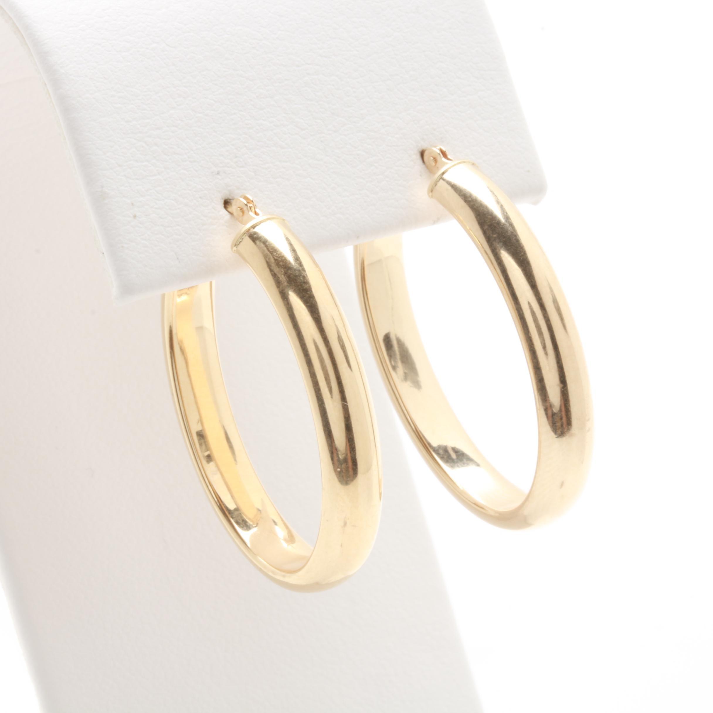 14K Yellow Gold Oval Hoop Earrings