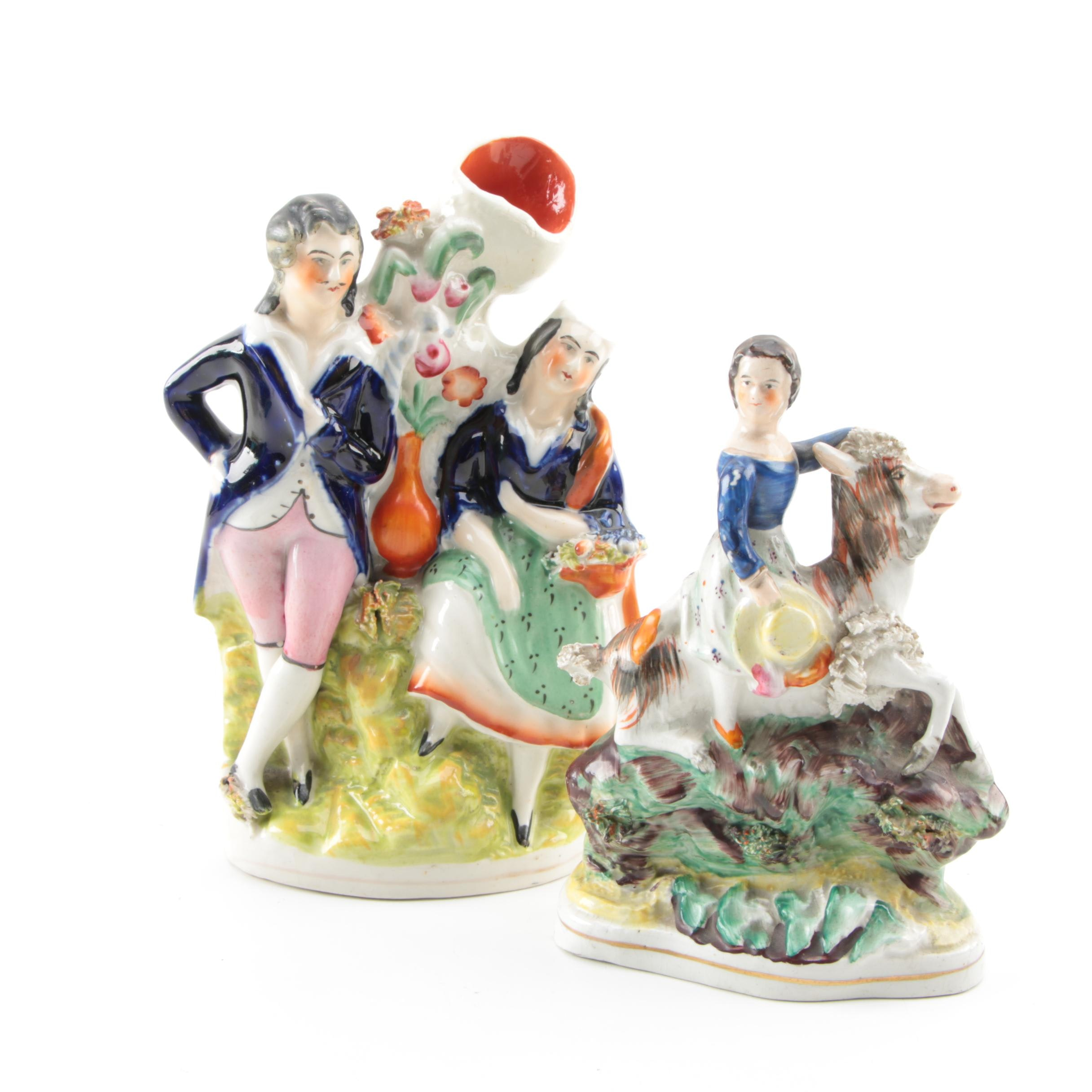 """Victorian Staffordshire Figure """"Princess Royal Riding a Goat"""" and a Spill Vase"""